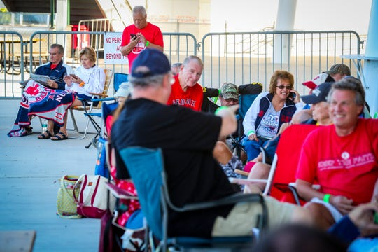 Bob and Marcia Curcuru of South Fort Myers, have been long time Sox fans and said this was their first time waiting in line like this for tickets. They enjoyed the experience Boston fans gathered in line for spring training ticket. The crowd is excited for this season after the Red Sox won the World Series.