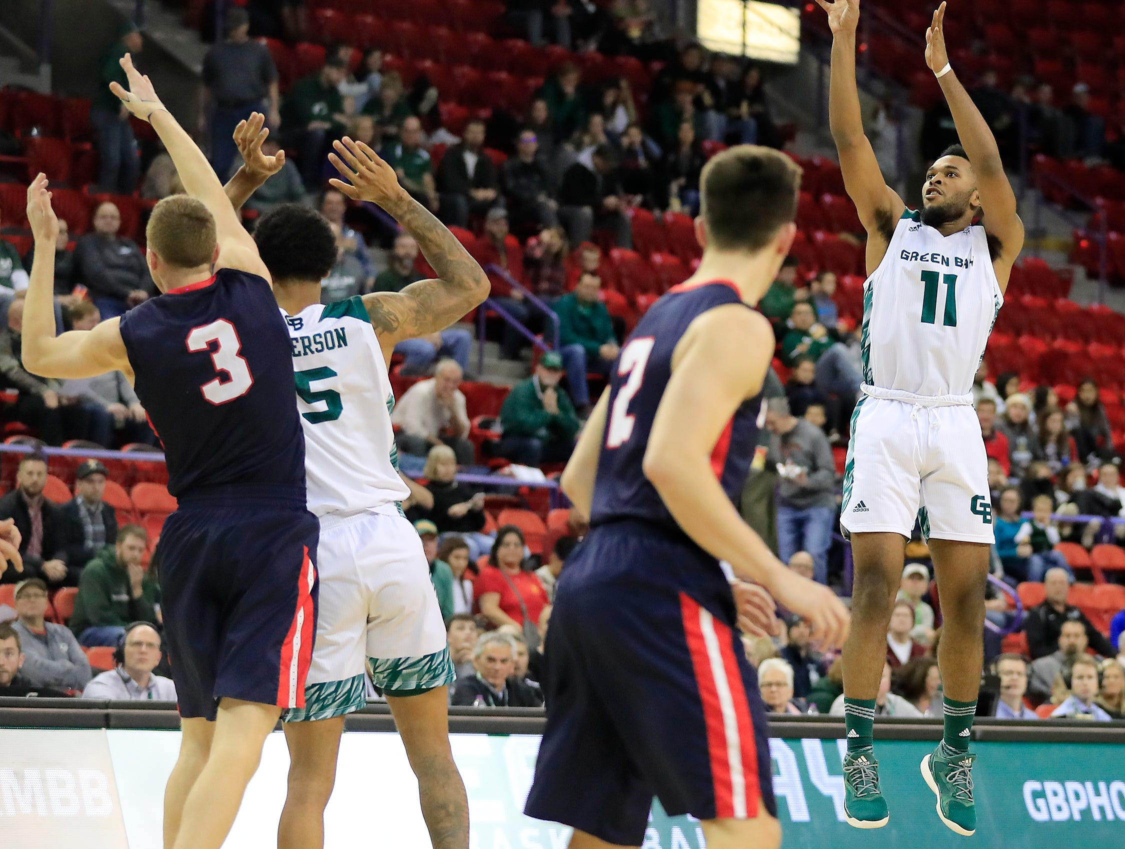Green Bay Phoenix guard JayQuan McCloud (11) shoots against the Belmont Bruins in a NCAA basketball game at the Resch Center on Saturday, December 1, 2018 in Ashwaubenon, Wis.