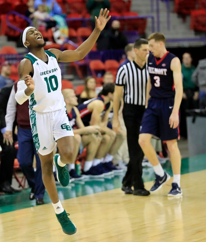 Green Bay Phoenix forward Shanquan Hemphill (10) reacts at the buzzer as the Phoenix defeated the Belmont Bruins in a NCAA basketball game at the Resch Center on Saturday, December 1, 2018 in Ashwaubenon, Wis.