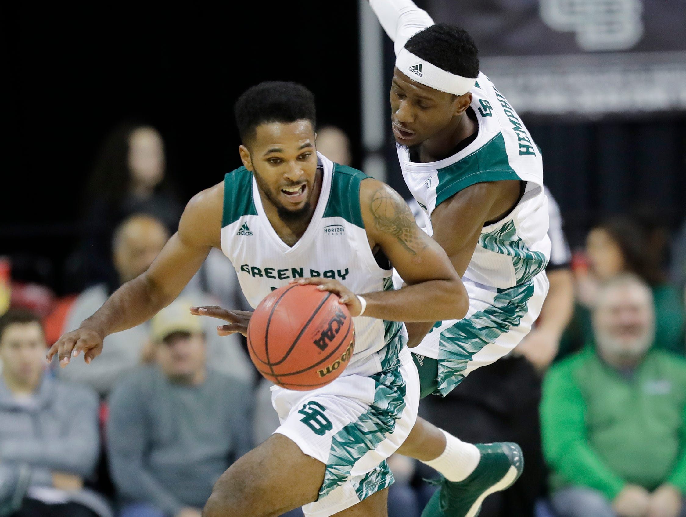 Green Bay Phoenix guard JayQuan McCloud (11) gets a steal against the Belmont Bruins in a NCAA basketball game at the Resch Center on Saturday, December 1, 2018 in Ashwaubenon, Wis.