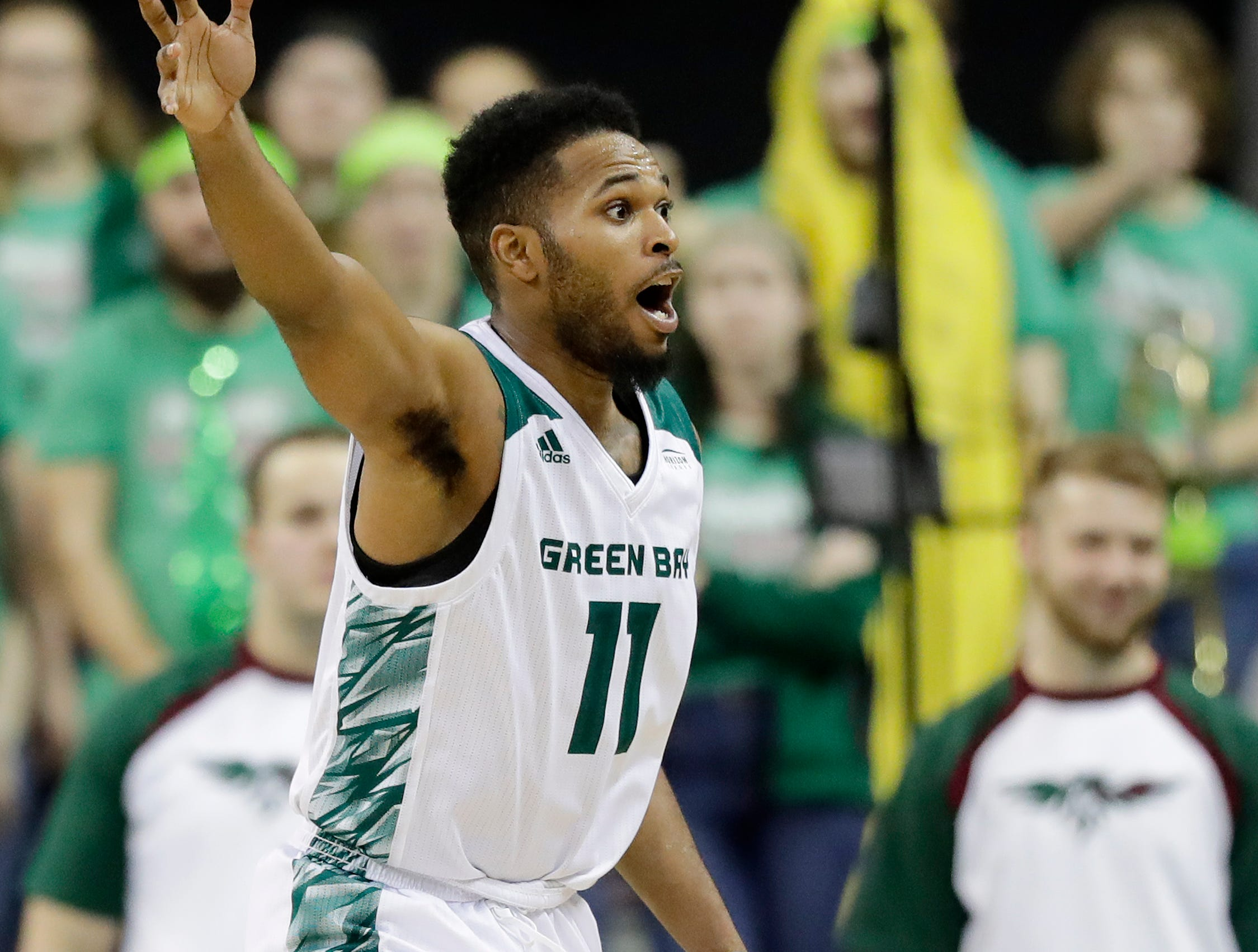 Green Bay Phoenix guard JayQuan McCloud (11) reacts in a NCAA basketball game against the Belmont Bruins at the Resch Center on Saturday, December 1, 2018 in Ashwaubenon, Wis.
