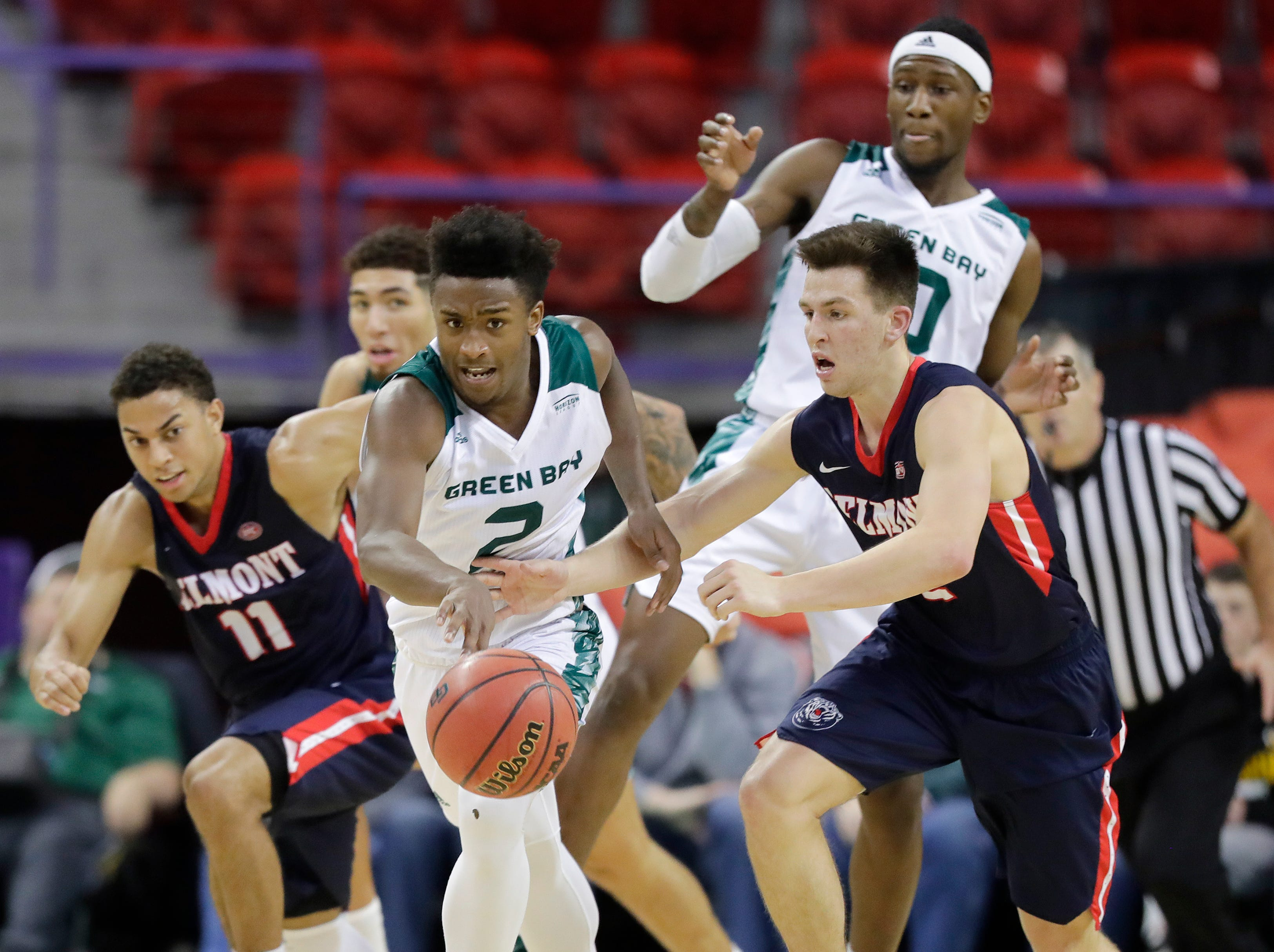 Green Bay Phoenix guard PJ Pipes (2) gets a steal against the Belmont Bruins in a NCAA basketball game at the Resch Center on Saturday, December 1, 2018 in Ashwaubenon, Wis.