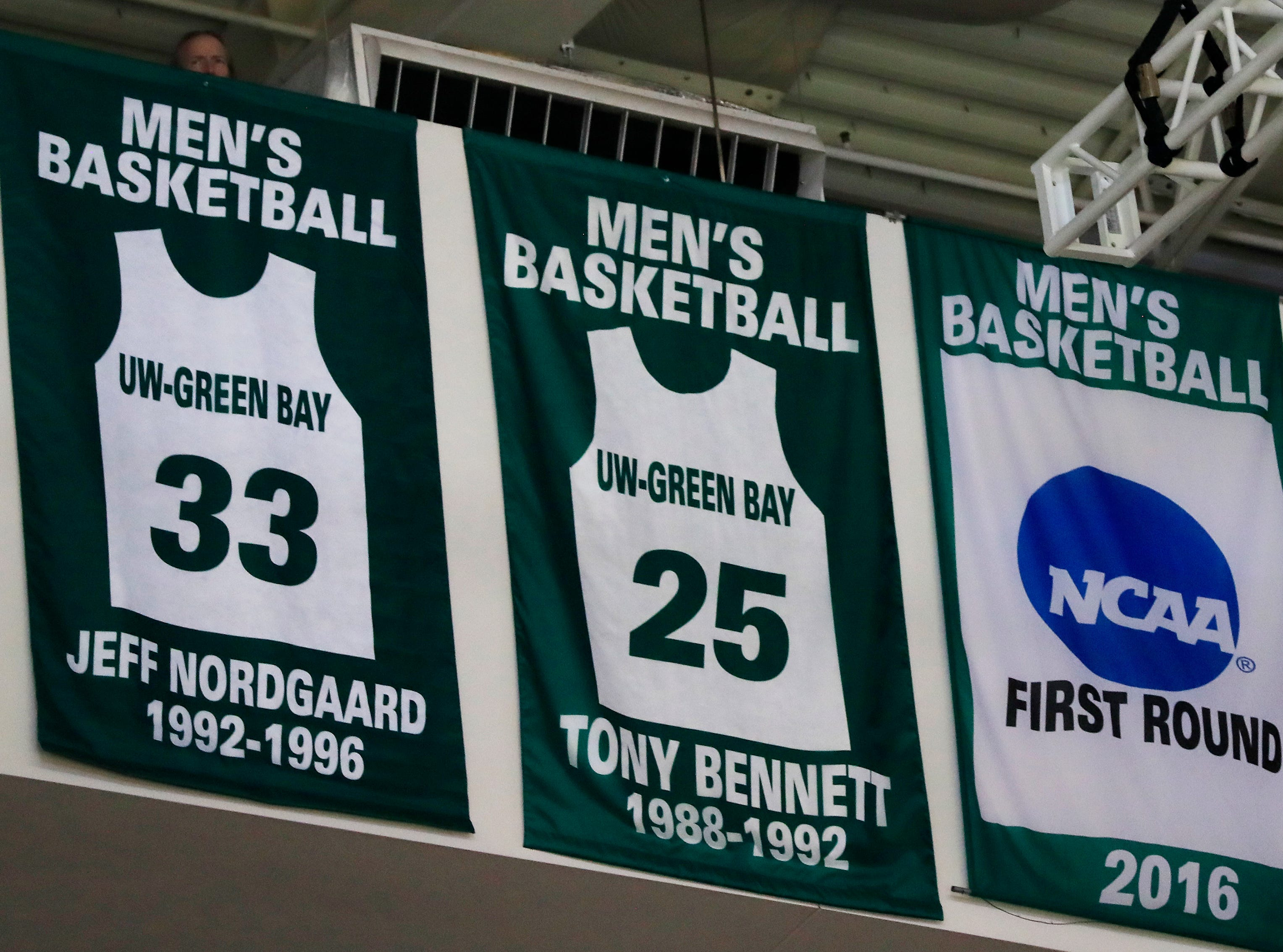 Former UW-Green Bay basketball player Jeff Nordgaard jersey was retired during halftime of a NCAA basketball game at the Resch Center on Saturday, December 1, 2018 in Ashwaubenon, Wis.