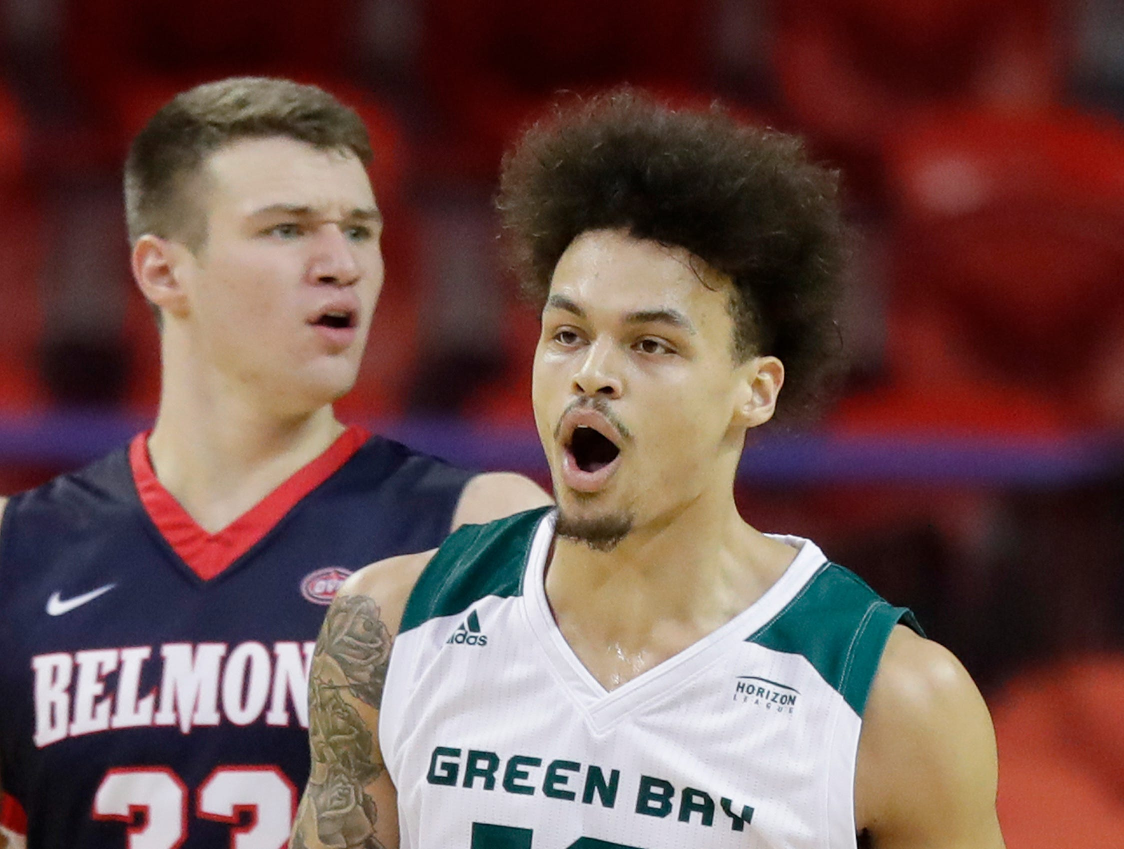 Green Bay Phoenix guard Trevian Bell (13) reacts after drawing a foul on Belmont Bruins center Nick Muszynski (33) in a NCAA basketball game at the Resch Center on Saturday, December 1, 2018 in Ashwaubenon, Wis.
