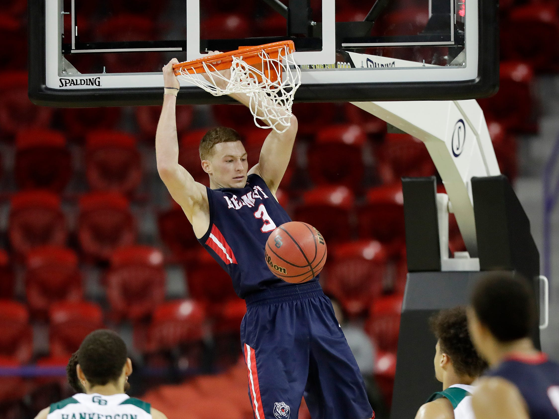 Belmont Bruins guard Dylan Windler (3) dunks in a NCAA basketball game at the Resch Center on Saturday, December 1, 2018 in Ashwaubenon, Wis.