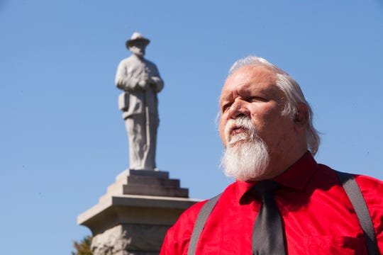 Frank Earnest at Elmwood Cemetery in Norfolk, Va. He was the model for a Confederate monument there. MUST CREDIT: Photo for The Washington Post by Timothy C. Wright
