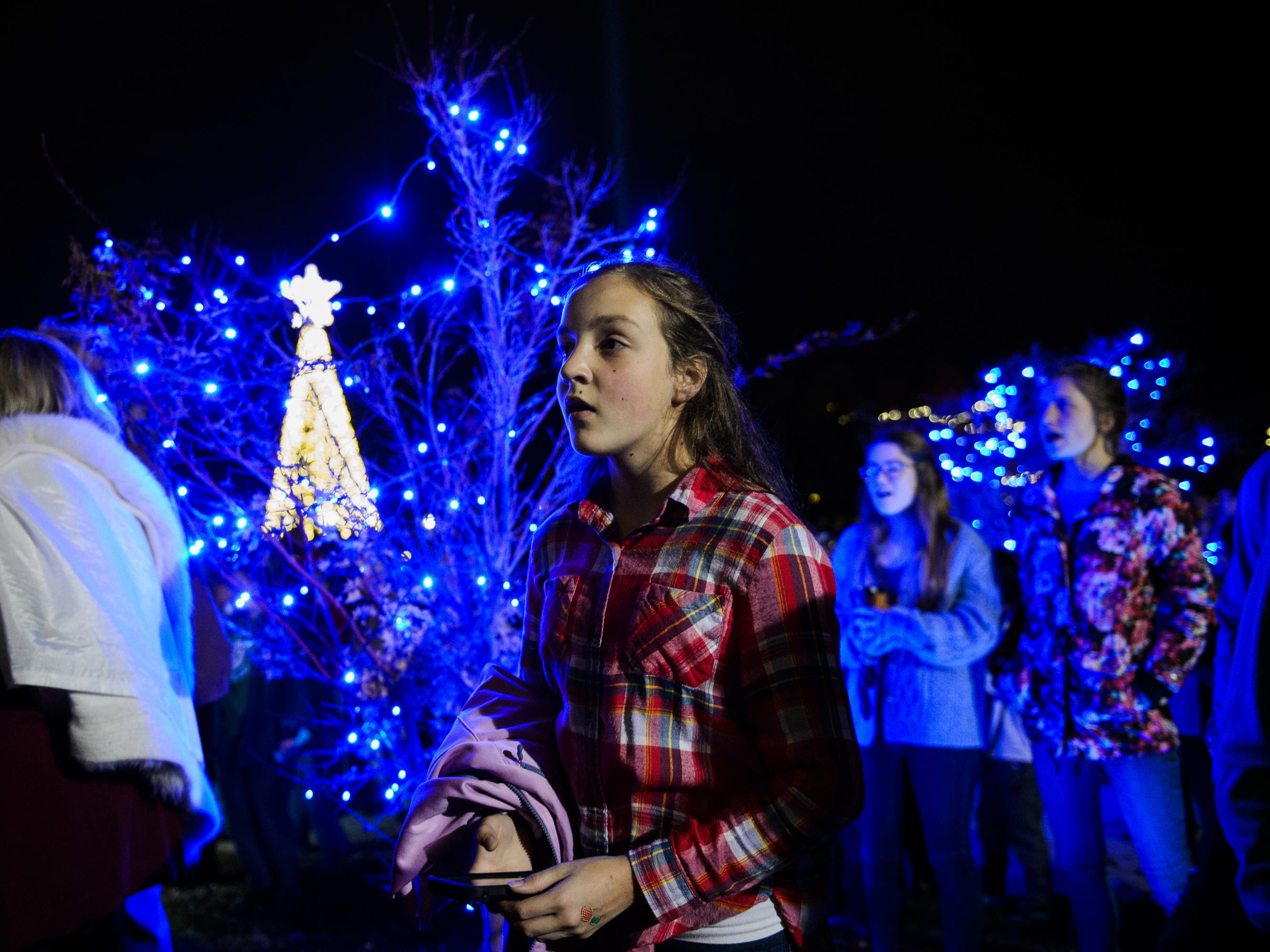 Rebekah Cutliff sings along with the choir during Bob Jones University's annual Christmas Celebration on Friday, Nov. 30, 2018.
