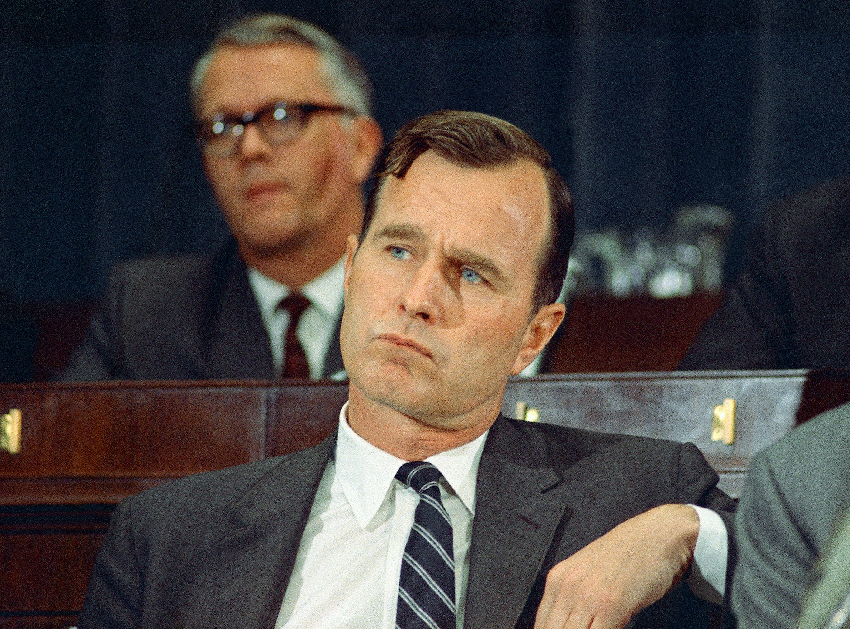 FILE - In this March 6, 1968 file photo, George H.W. Bush, R-Texas, appears in Washington. Bush died at the age of 94 on Friday, Nov. 30, 2018, about eight months after the death of his wife, Barbara Bush. (AP Photo/Charles Tasnadi, File)