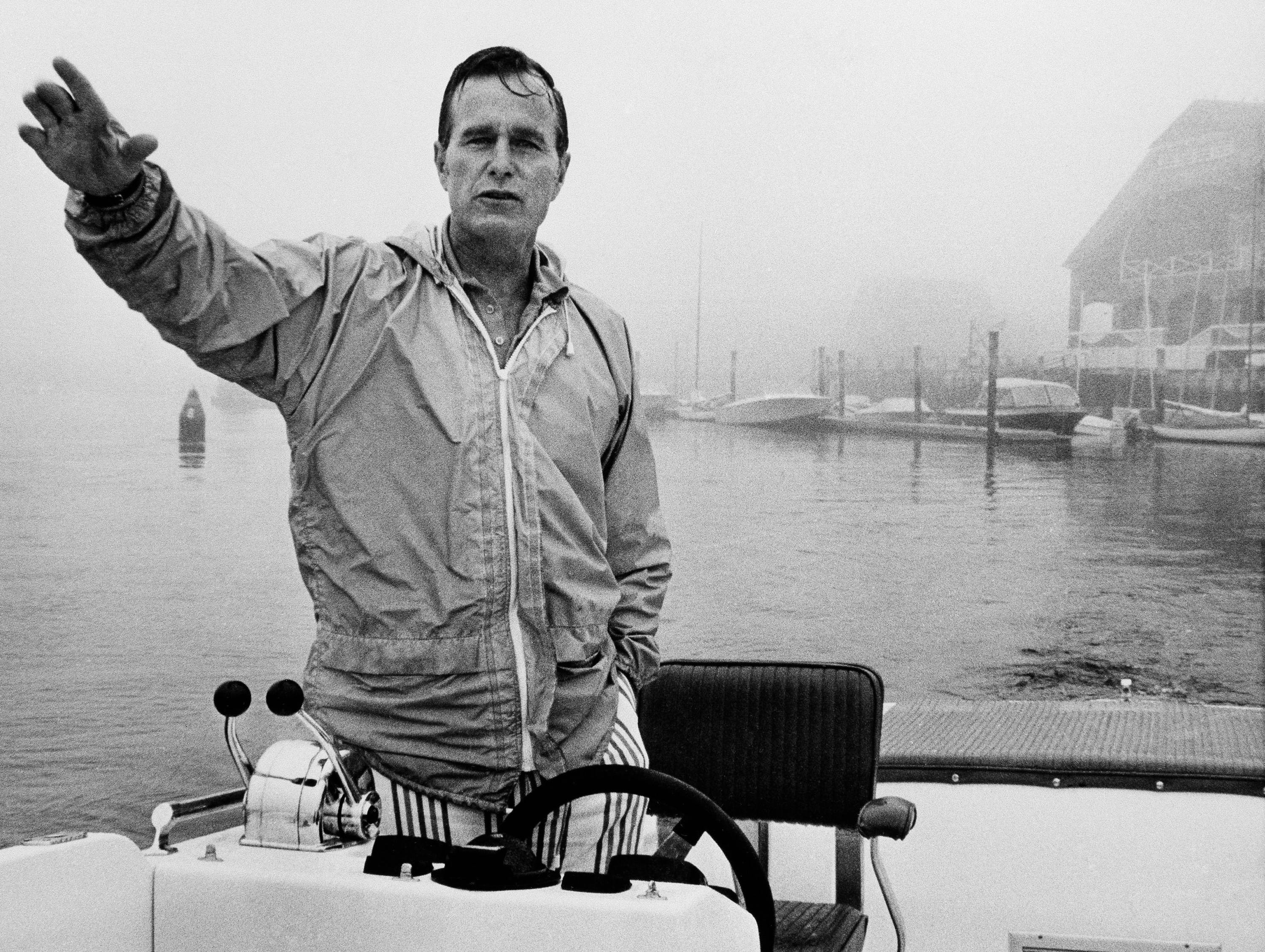 George H.W. Bush , National Chairman of the Republican Party, takes to his speed boat for a ride at  Kennebunkport, Maine on August 24, 1973 to outrun the pressures of Watergate and his party's political troubles. (AP Photo)