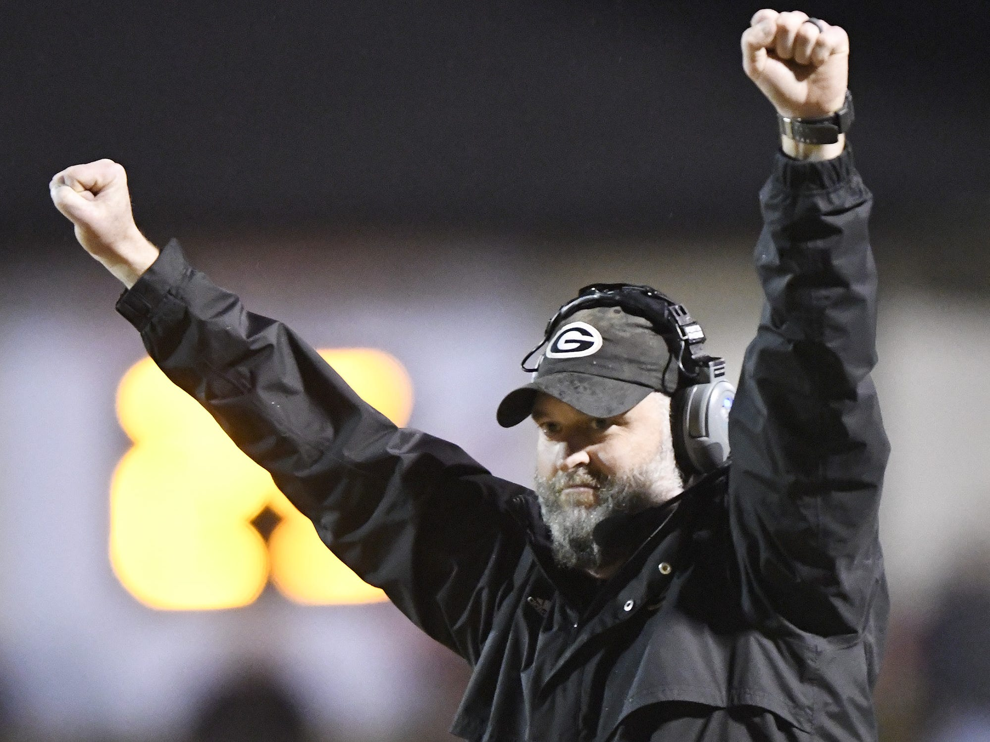 Greer football coach Will Young reacts to a stop in the final minute of the Yellow Jackets' 35-23 win over Daniel in the Class AAAA Upper State final Friday night at Dooley Field.