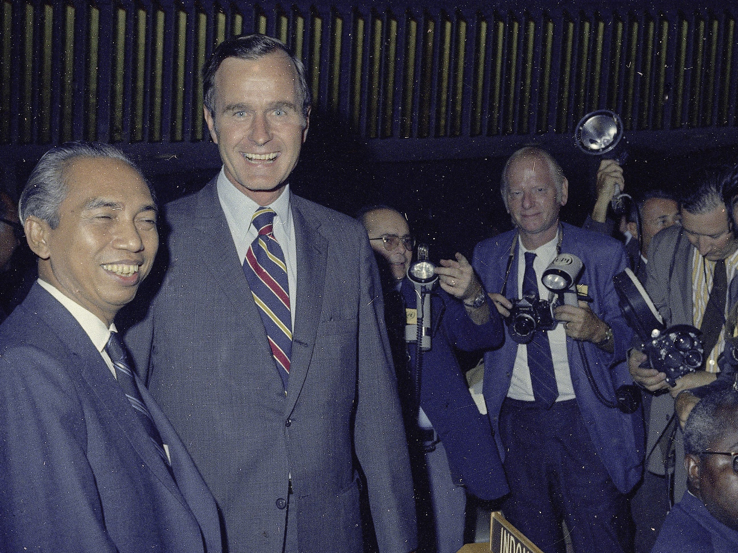 George Bush, right, U.S. Ambassador to the United Nations, with Indonesian Foreign Minister Adam Malik before the opening of the 26th General Assembly of the United Nations at the headquarters in New York, Tuesday, Sept. 21, 1971. Malik will be president of the 127-nation General Assembly. (AP Photo)