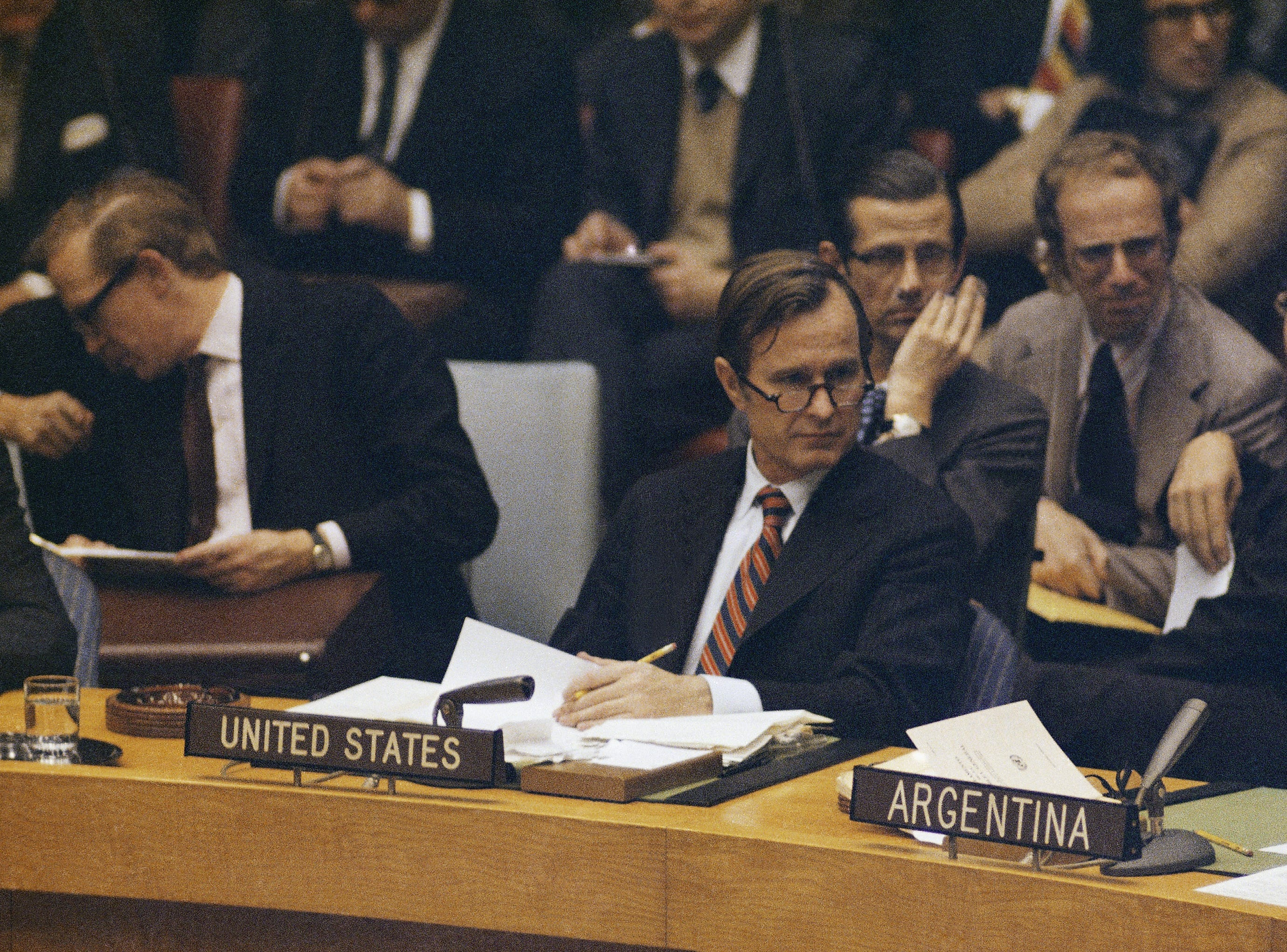George Bush, U.S. Ambassador to the United Nations is shown at U.N. headquarters in New York in 1971. (AP Photo)