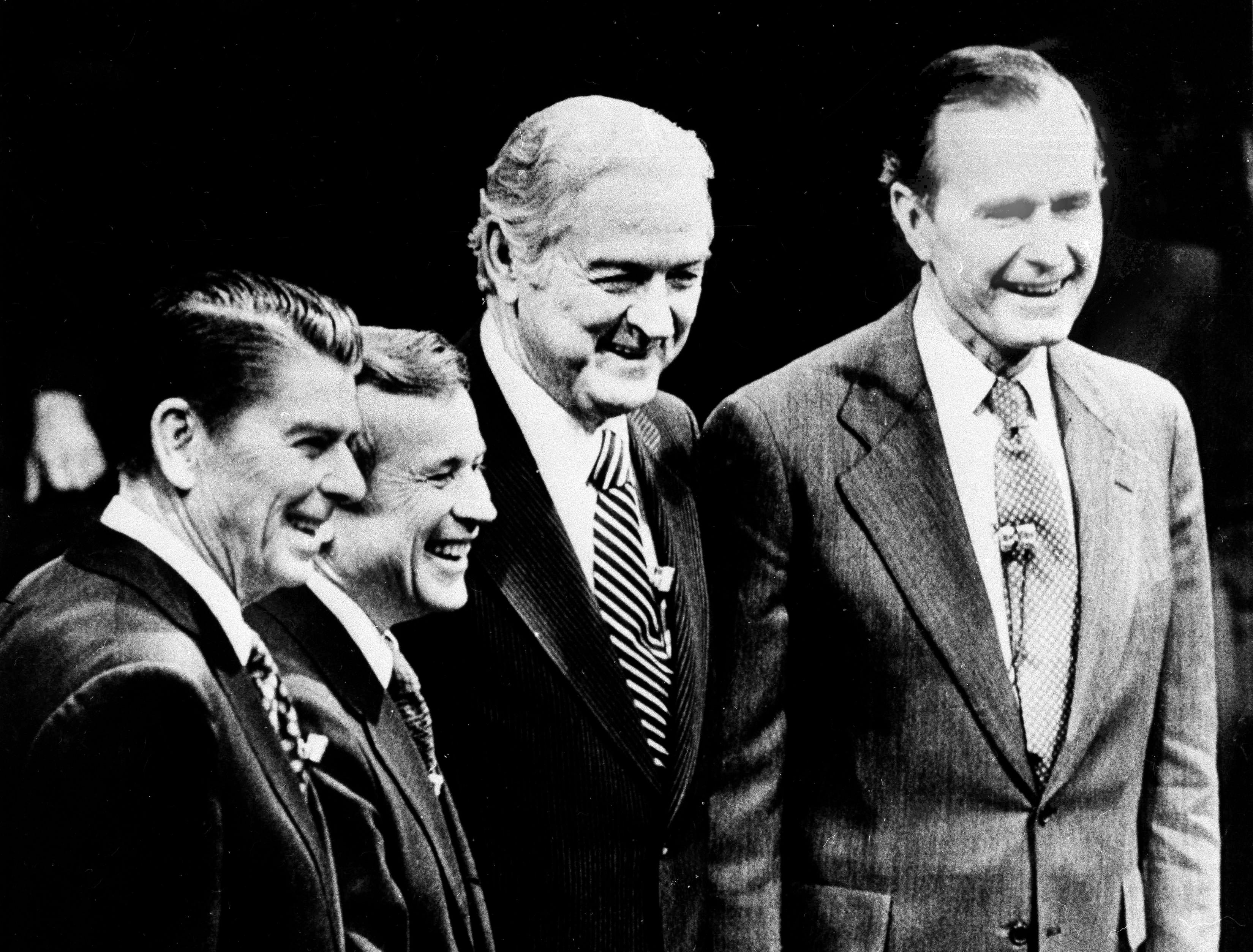 Republican candidates for president from the left: Ronald Reagan, Howard Baker, John Connally and George Bush pose together just prior to their debate on public television in Columbia, S.C., Feb. 28, 1980. (AP Photo/Mark Foley)