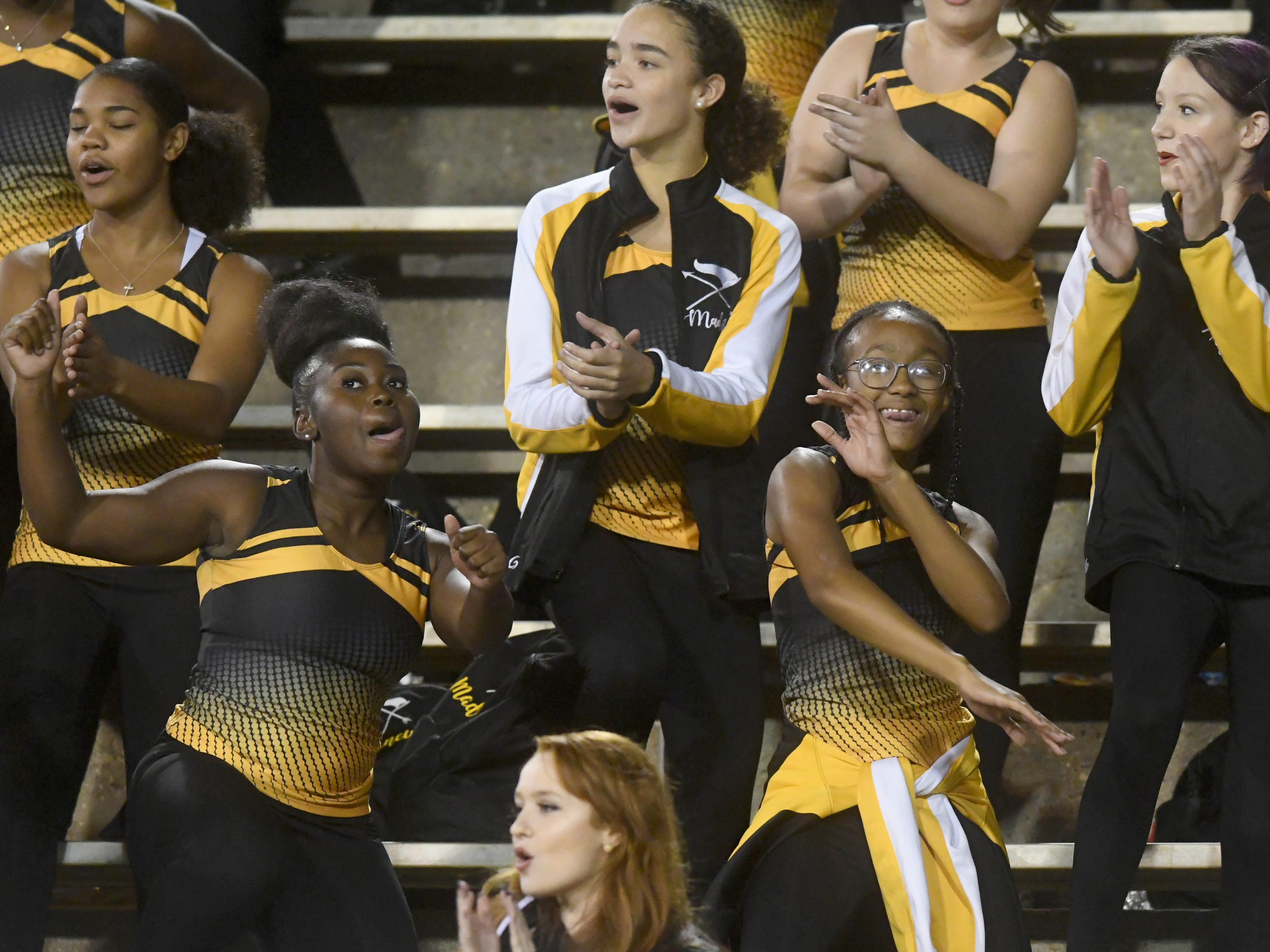 Oak Grove dance members perform during the 6A state championship game against Horn Lake at M.M. Roberts Stadium in Hattiesburg on Friday, November 30, 2018.