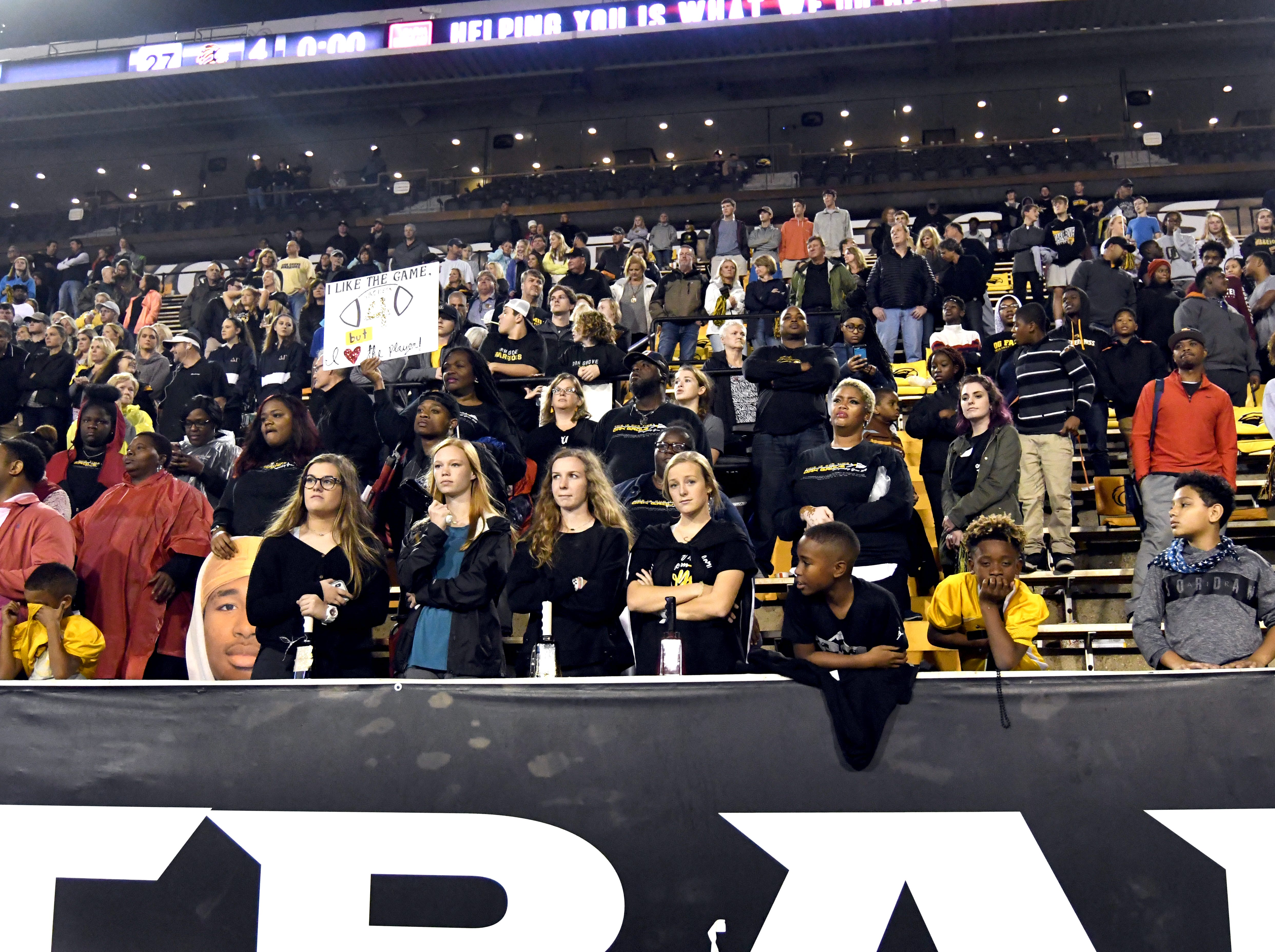 Oak Grove fans show their support as their team loses to Horn Lake in the 6A state championship game at M.M. Roberts Stadium in Hattiesburg on Friday, November 30, 2018.
