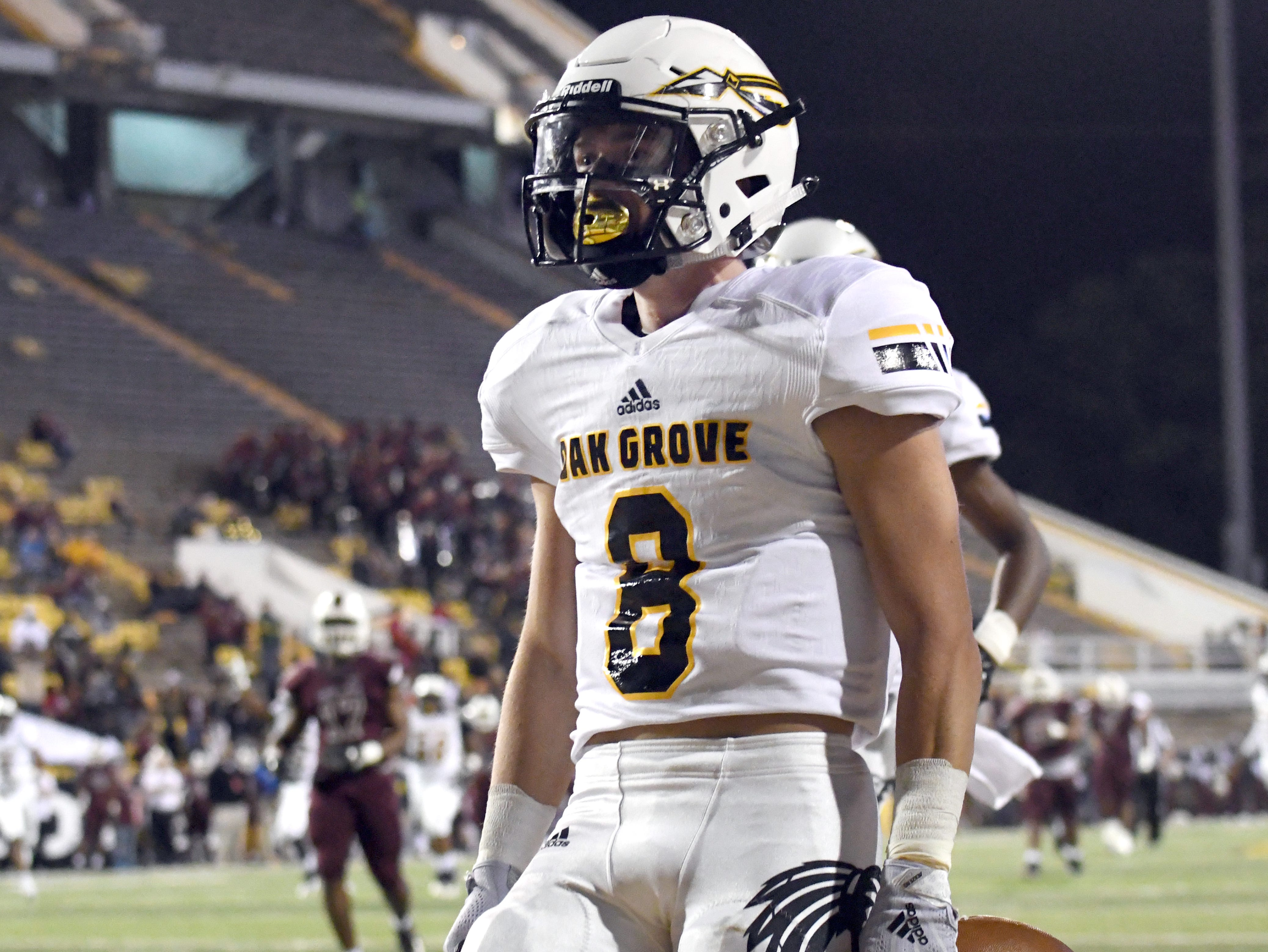 Oak Grove wide receiver Liam Breithaupt celebrates after scoring a touchdown in the 6A state championship game against Horn Lake at M.M. Roberts Stadium in Hattiesburg on Friday, November 30, 2018.