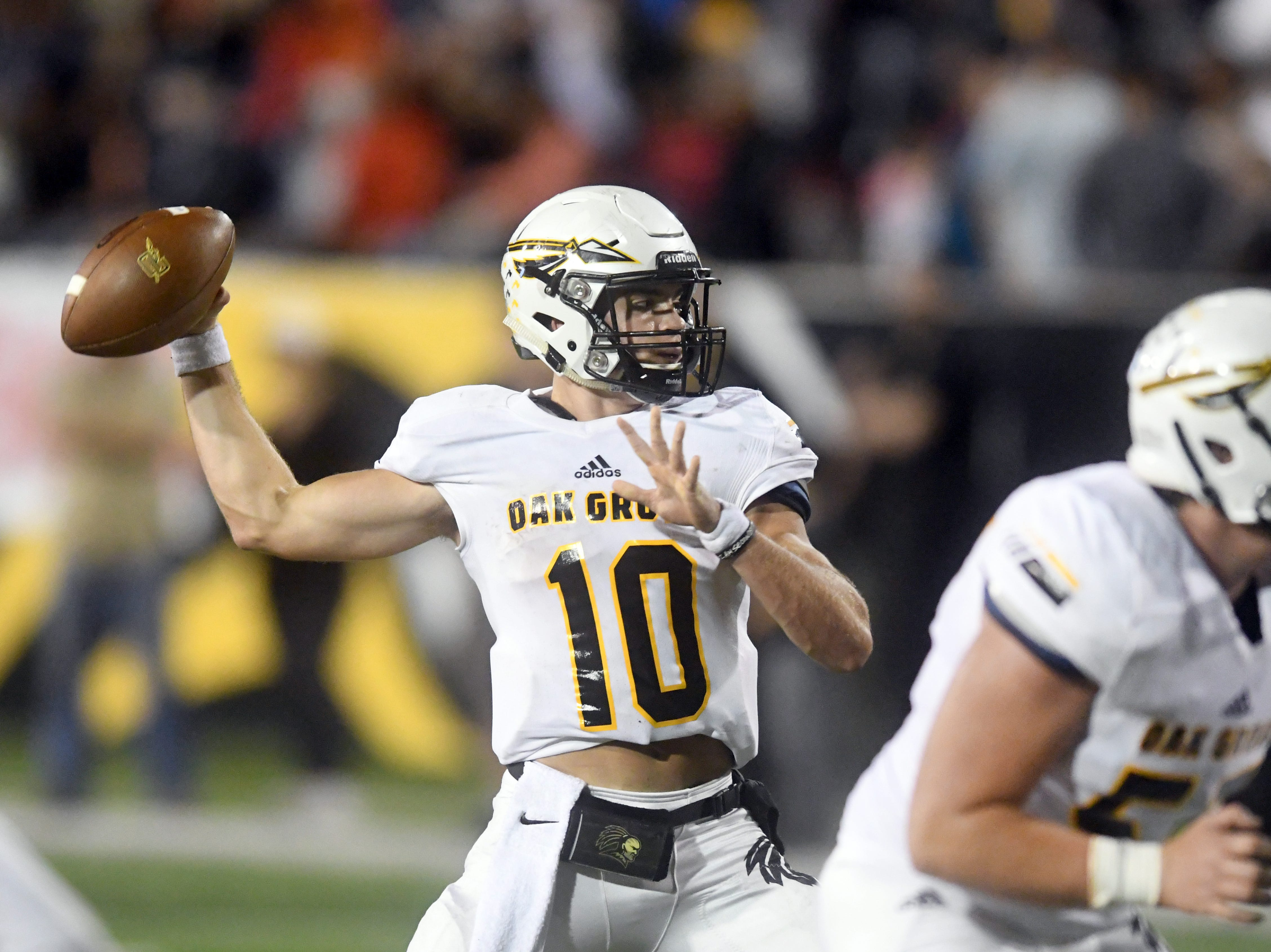 Oak Grove quarterback John Rhys Plumlee throws the ball in the 6A state championship game against Horn Lake at M.M. Roberts Stadium in Hattiesburg on Friday, November 30, 2018.