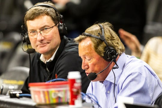 Jim Albracht, right, subbed for Gary Dolphin alongside Bobby Hansen, left, Friday night vs. Wisconsin.
