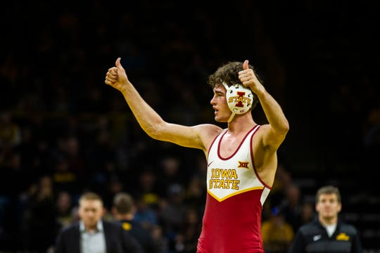 Iowa State's Jarrett Degen celebrates after scoring a decision during a NCAA Cy-Hawk series wrestling dual on Saturday, Dec. 1, 2018, at Carver-Hawkeye Arena in Iowa City.