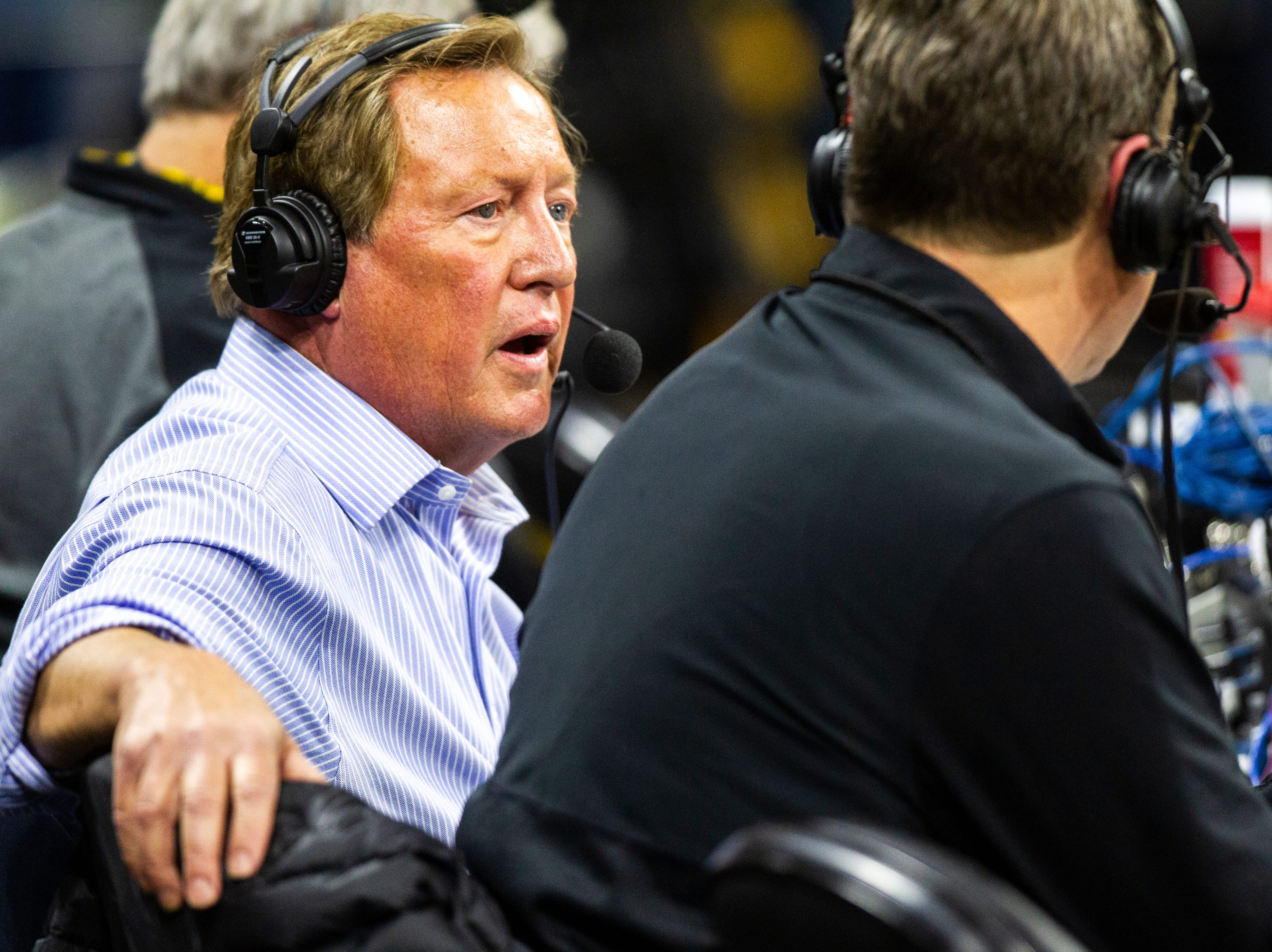 Jim Albracht, left, commentates alongside Bobby Hansen before an Iowa men's basketball game against Wisconsin on Friday, Nov. 30, 2018, at Carver-Hawkeye Arena in Iowa City.
