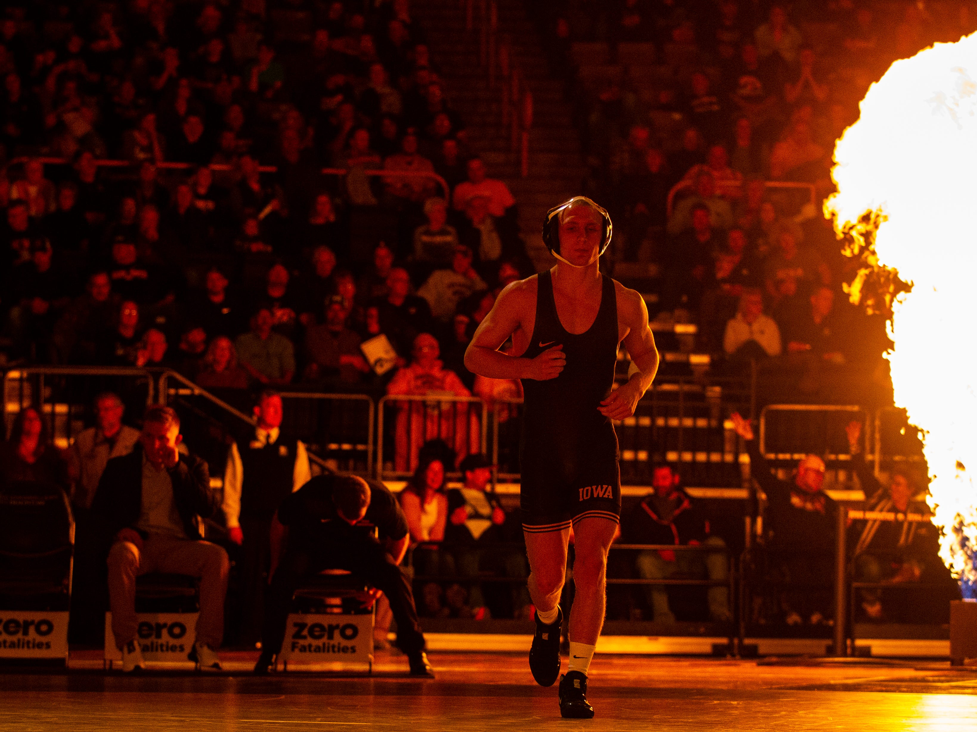 Iowa's Kaleb Young is introduced before his match at 157 during a NCAA Cy-Hawk series wrestling dual on Saturday, Dec. 1, 2018, at Carver-Hawkeye Arena in Iowa City.