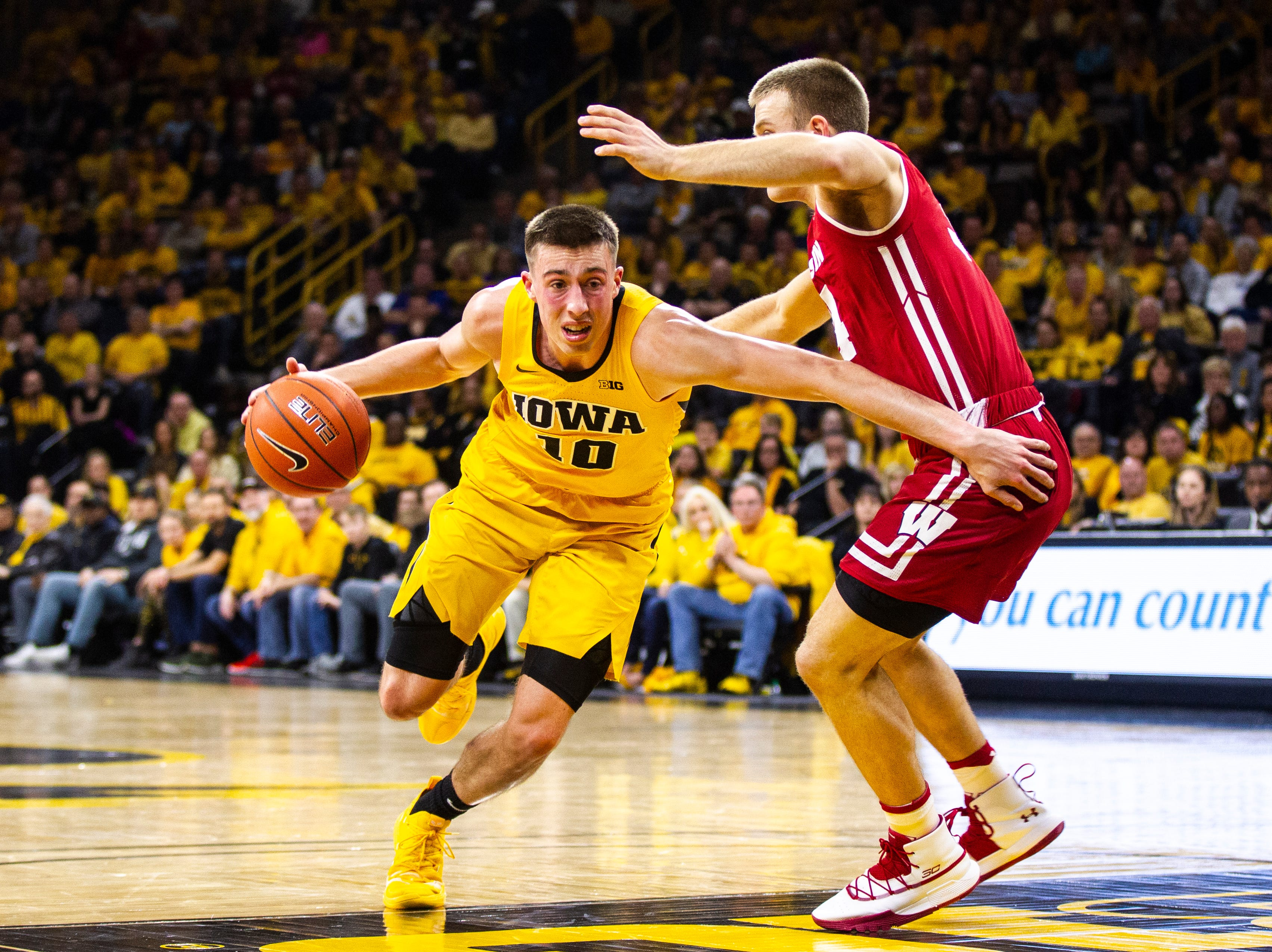 Iowa guard Joe Wieskamp (10) drives to the hoop during a NCAA Big Ten Conference men's basketball game on Friday, Nov. 30, 2018, at Carver-Hawkeye Arena in Iowa City.