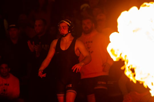 Iowa's Spencer Lee is introduced before his match at 125 during a NCAA Cy-Hawk series wrestling dual on Saturday, Dec. 1, 2018, at Carver-Hawkeye Arena in Iowa City.