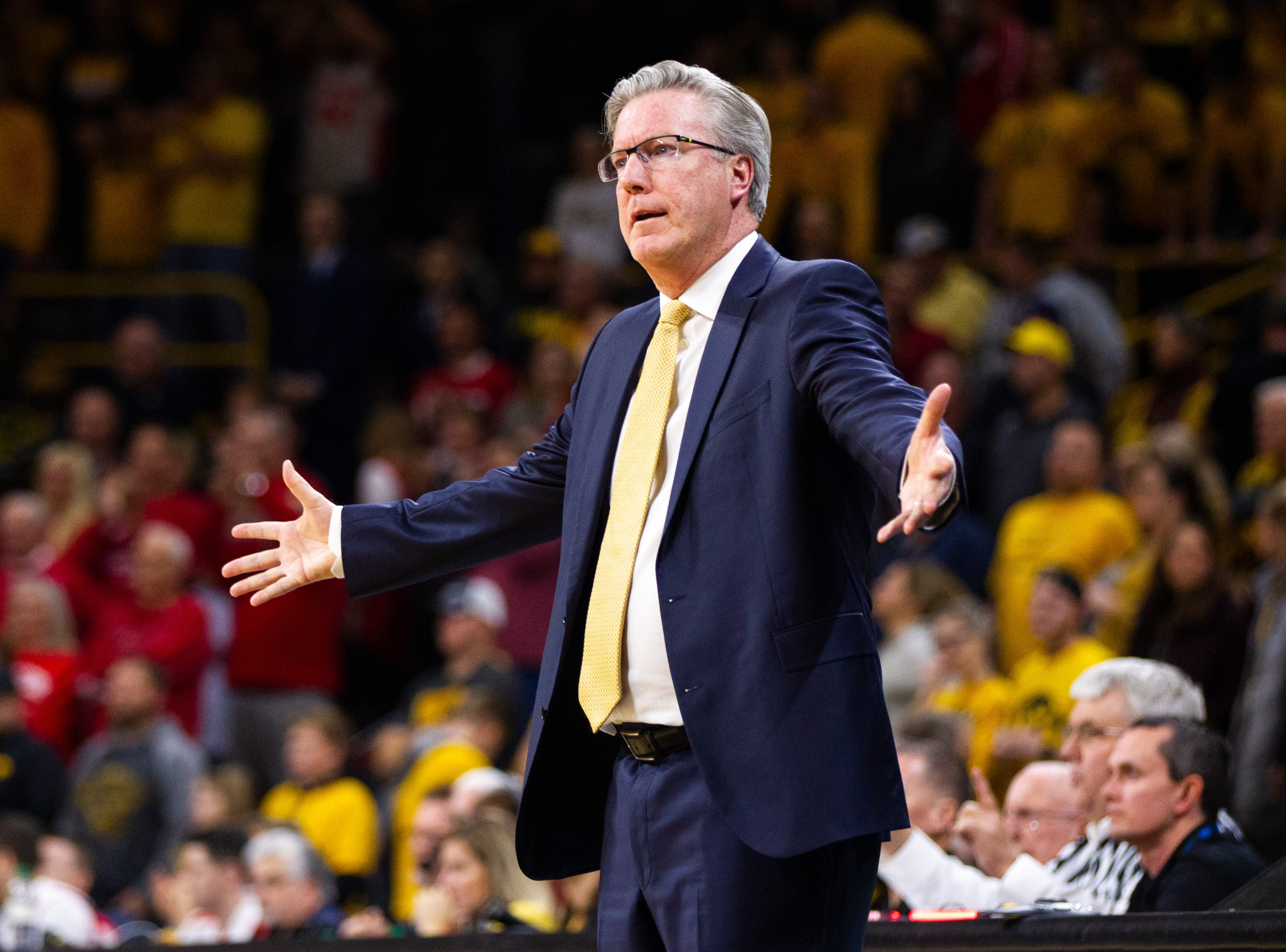 Iowa men's basketball head coach Fran McCaffery calls out to players as time winds down in the second half during a NCAA Big Ten Conference men's basketball game on Friday, Nov. 30, 2018, at Carver-Hawkeye Arena in Iowa City.