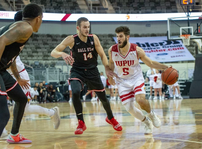 IUPUI guard Camron Justice (5) scored a game-high 28 points, but it wasn't enough in a loss to Ball State on Saturday.