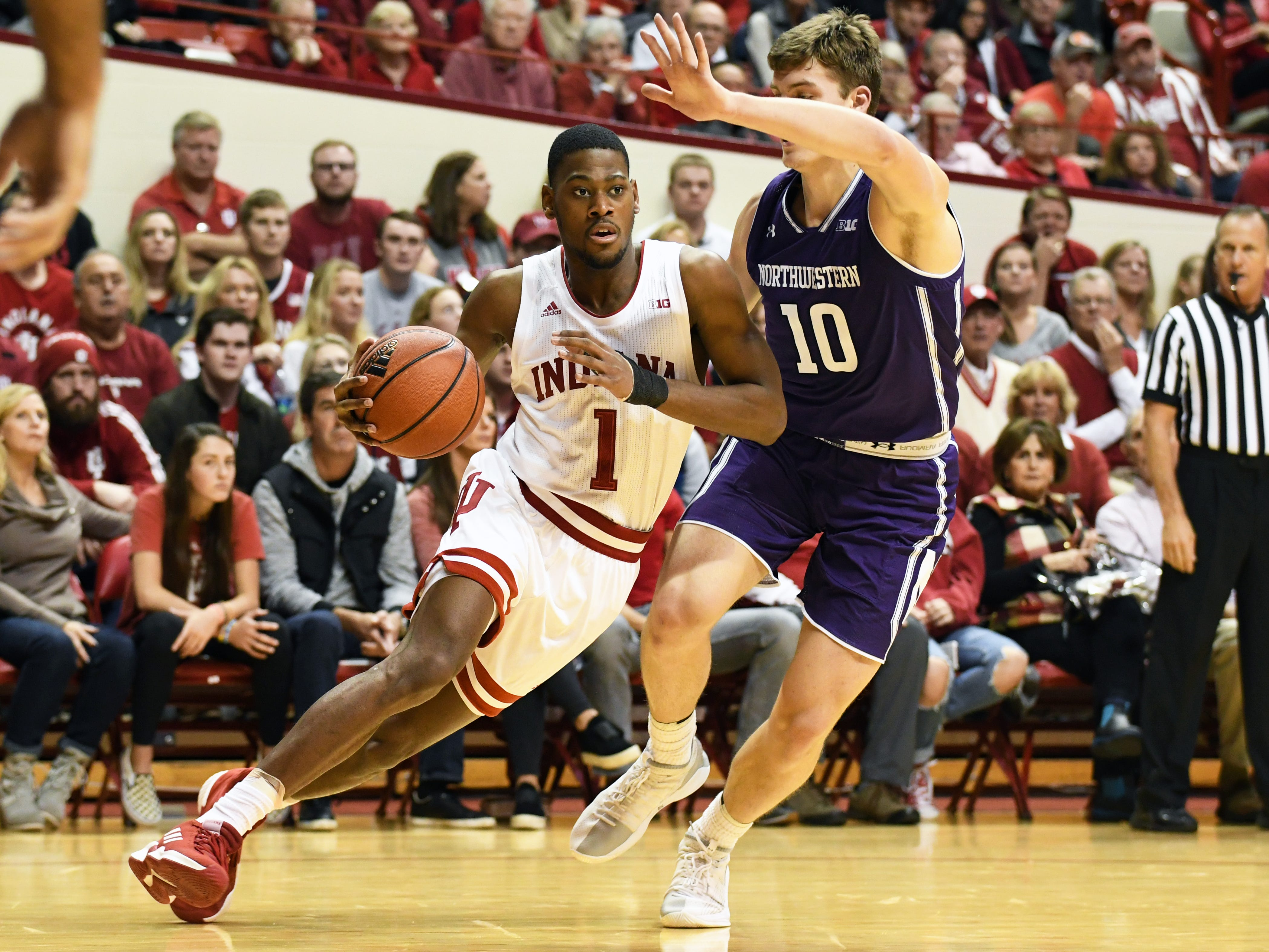 Indiana Hoosiers guard Al Durham (1) drives to the basket during the game against Northwestern at Simon Skjodt Assembly Hall in Bloomington, Ind., on Saturday, Dec. 1, 2018.