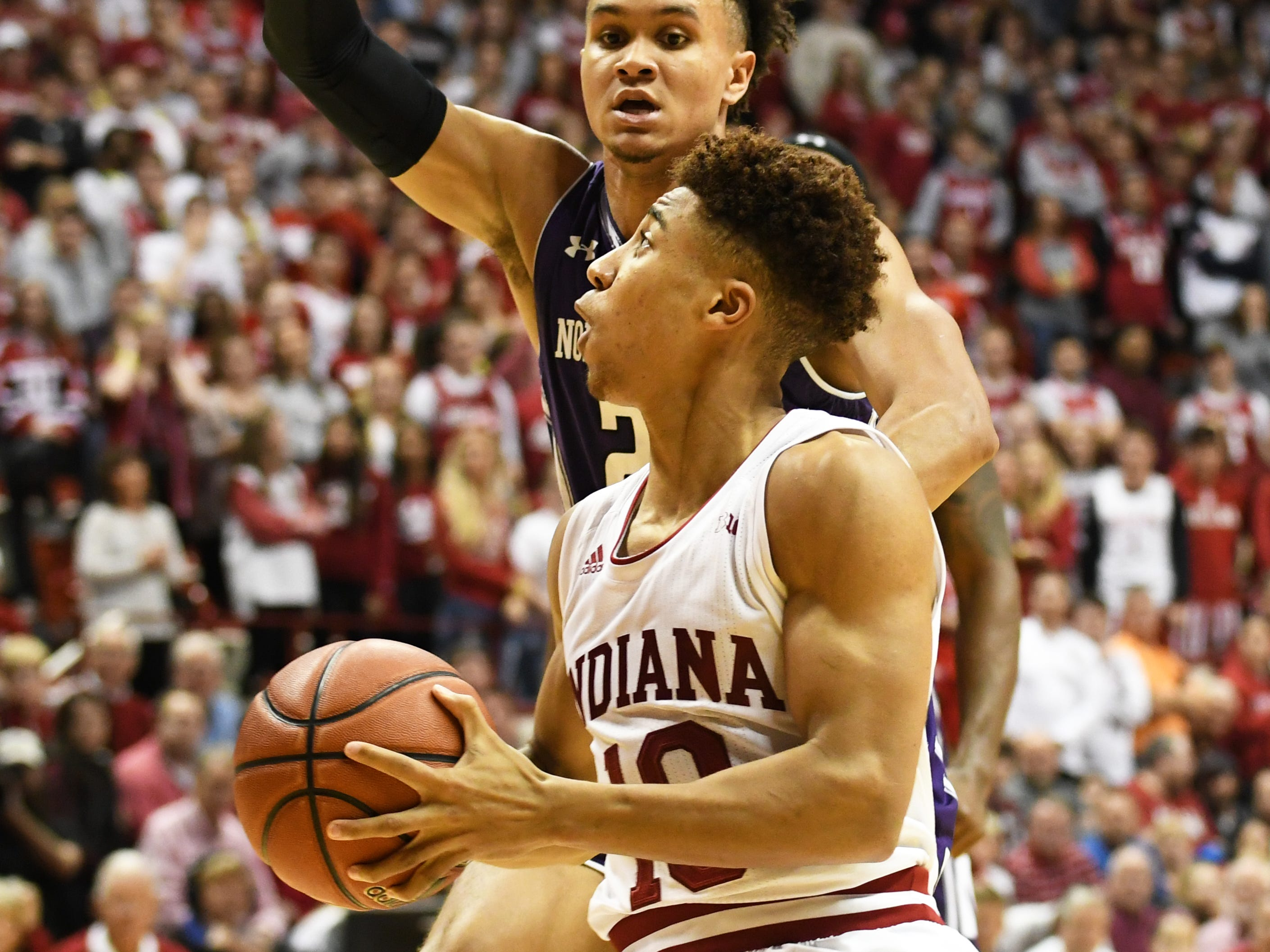 Indiana Hoosiers guard Rob Phinisee (10) goes to the basket during the game against Northwestern at Simon Skjodt Assembly Hall in Bloomington, Ind., on Saturday, Dec. 1, 2018.