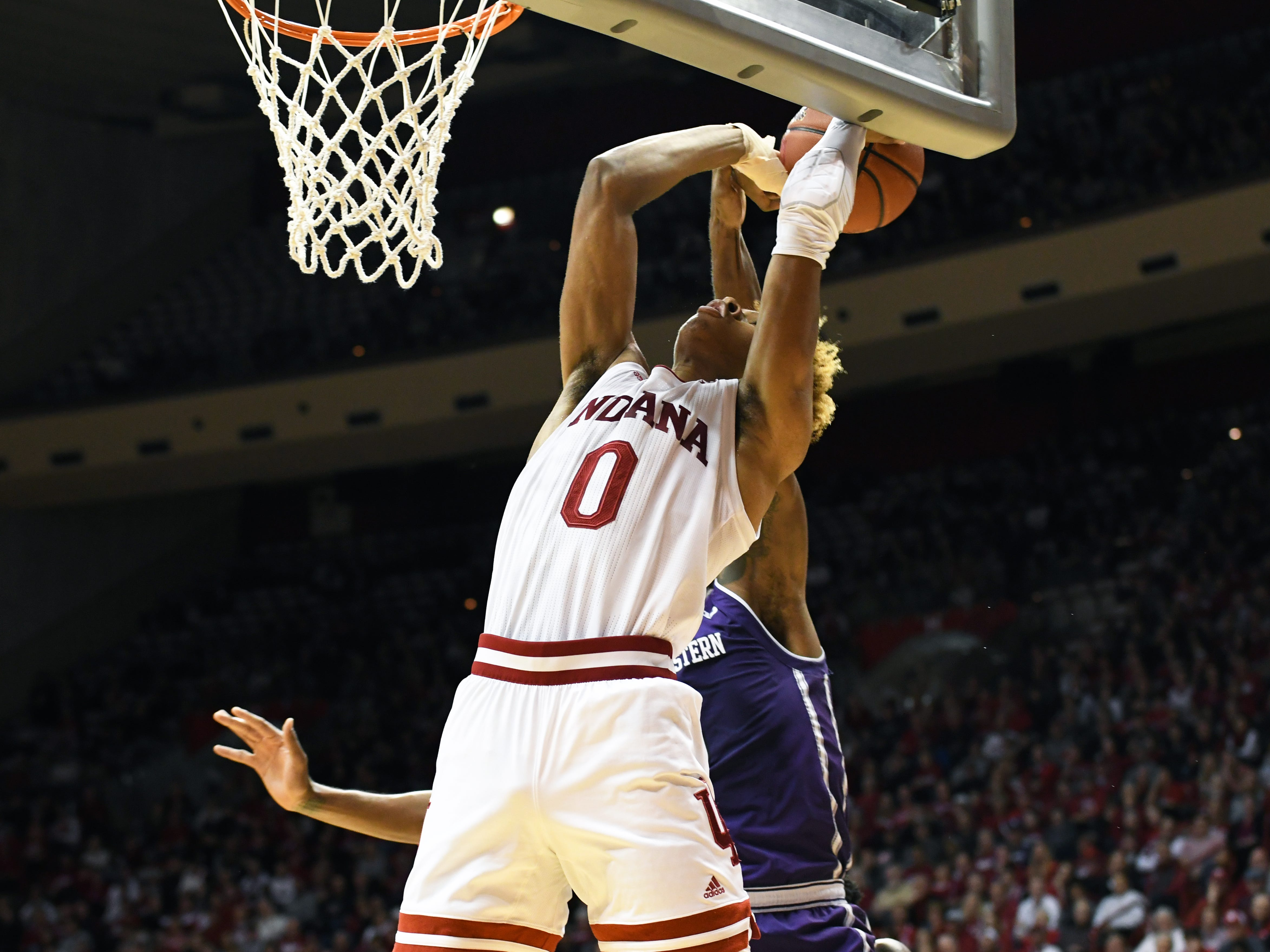 Indiana Hoosiers guard Romeo Langford (0) has his shot blocked during the game against Northwestern at Simon Skjodt Assembly Hall in Bloomington, Ind., on Saturday, Dec. 1, 2018.