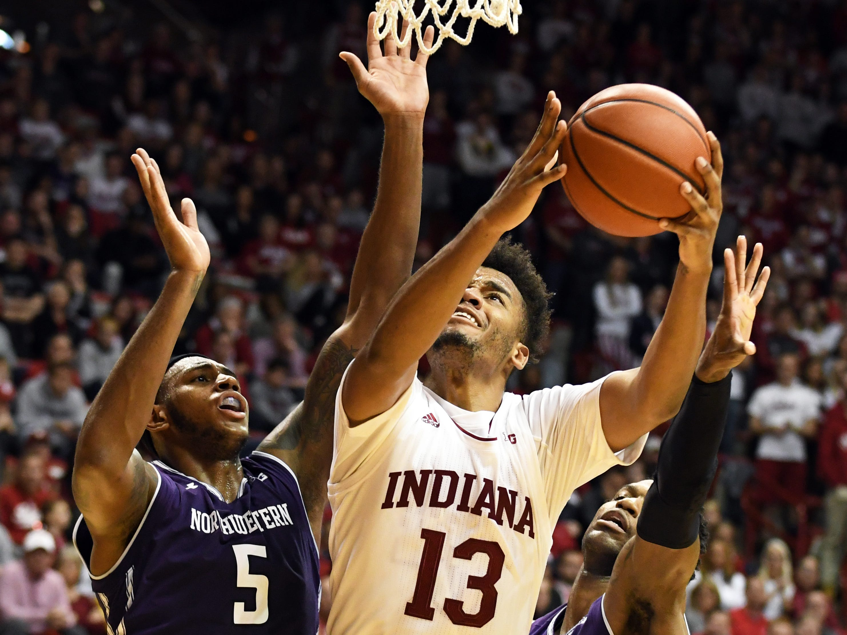 Indiana Hoosiers forward Juwan Morgan (13) attempts a layup during the game against Northwestern at Simon Skjodt Assembly Hall in Bloomington, Ind., on Saturday, Dec. 1, 2018.