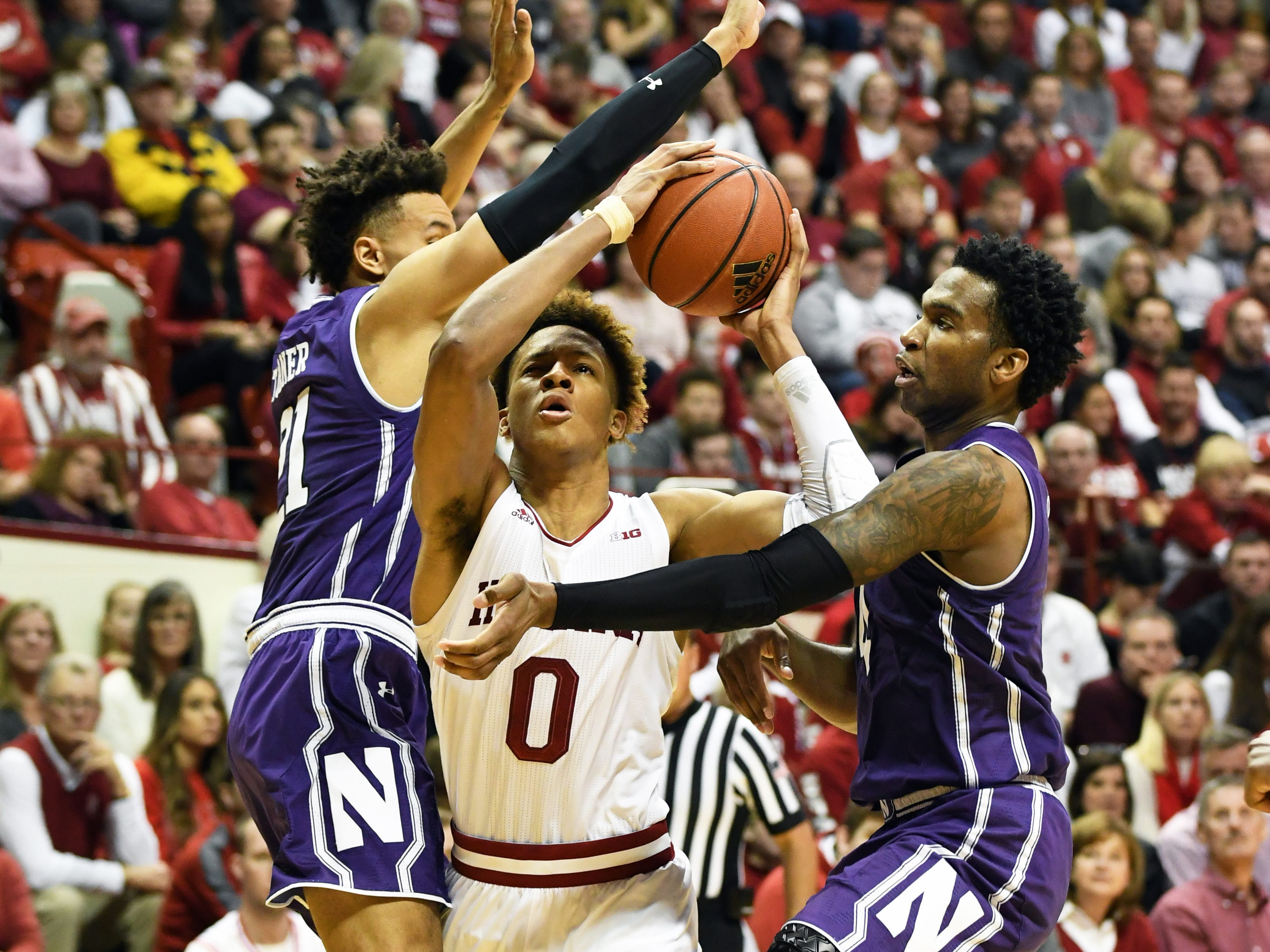 Indiana Hoosiers guard Romeo Langford (0) drives to the basket during the game against Northwestern at Simon Skjodt Assembly Hall in Bloomington, Ind., on Saturday, Dec. 1, 2018.