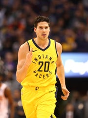 Pacers forward Doug McDermott celebrates a three point shot in the first half against the Phoenix Suns at Talking Stick Resort Arena.