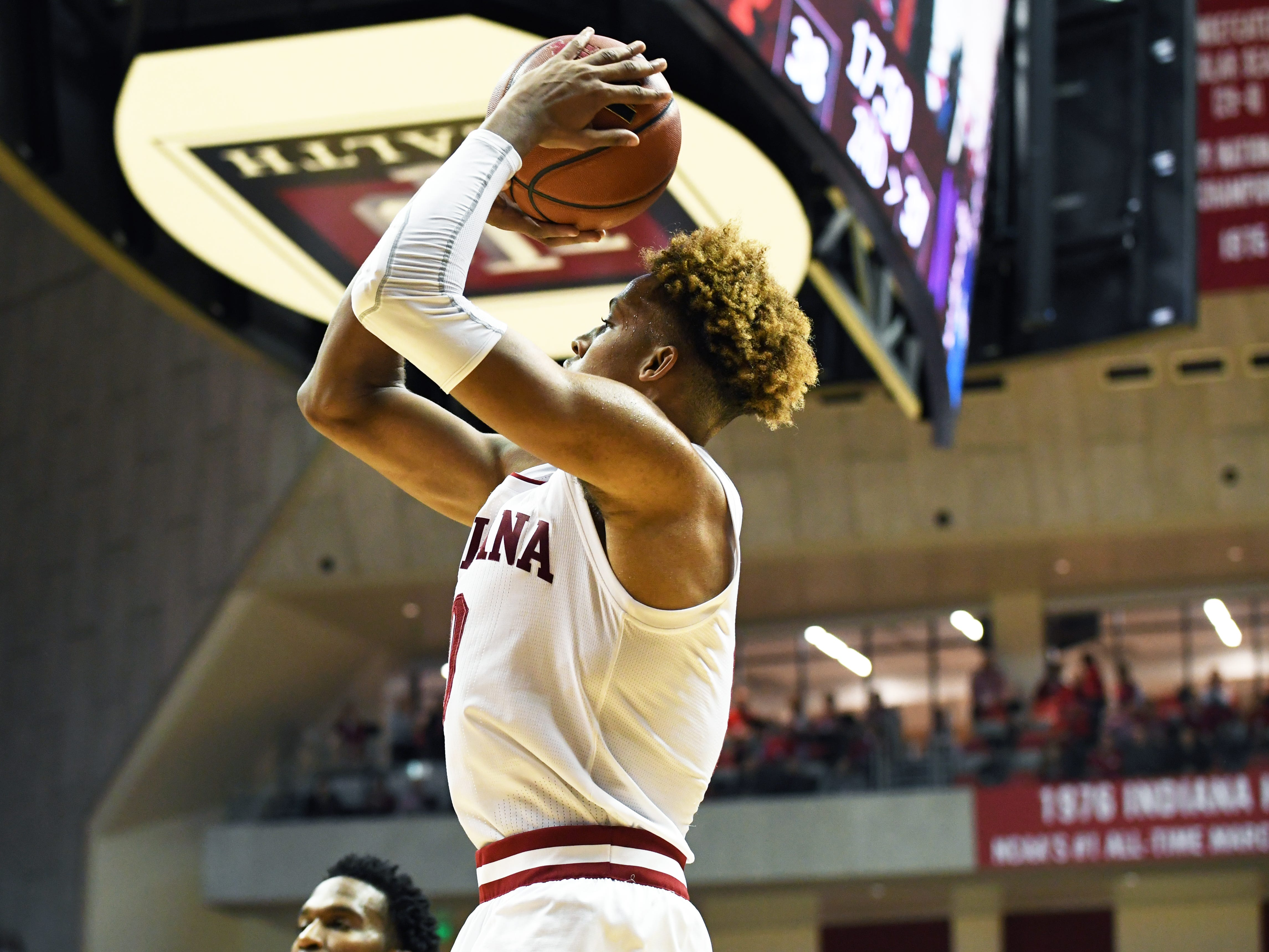 Indiana Hoosiers guard Romeo Langford (0) shoots the ball during the game against Northwestern at Simon Skjodt Assembly Hall in Bloomington, Ind., on Saturday, Dec. 1, 2018.