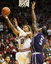 Indiana Hoosiers guard Romeo Langford (0) attempts a layup during the game against Northwestern at Simon Skjodt Assembly Hall in Bloomington, Ind., on Saturday, Dec. 1, 2018.