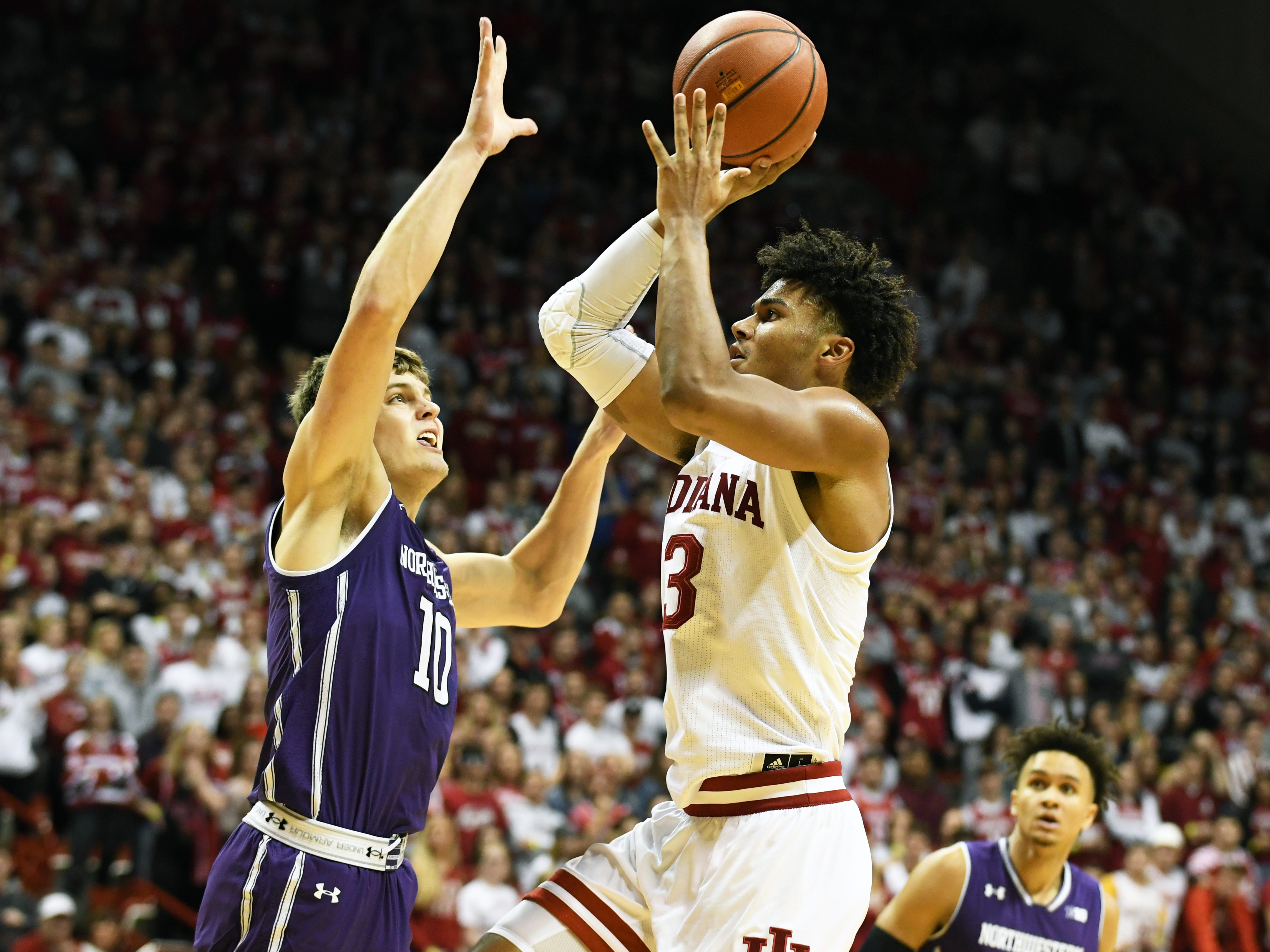 Indiana Hoosiers forward Justin Smith (3) shoots the ball during the game against Northwestern at Simon Skjodt Assembly Hall in Bloomington, Ind., on Saturday, Dec. 1, 2018.
