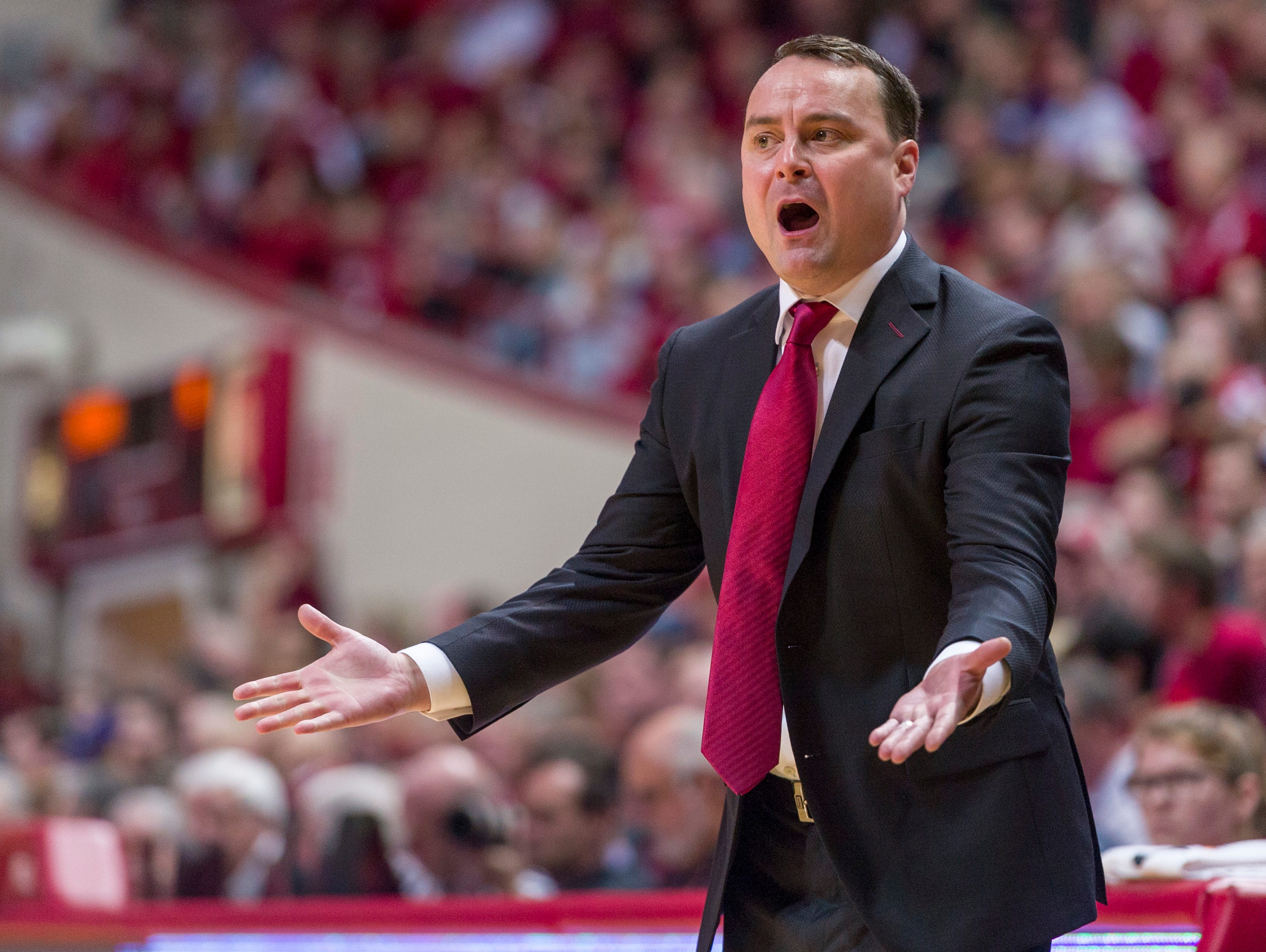 Indiana head coach Archie Miller reacts to a call during the first half of an NCAA college basketball game against Northwestern Saturday, Dec. 1, 2018, in Bloomington, Ind.