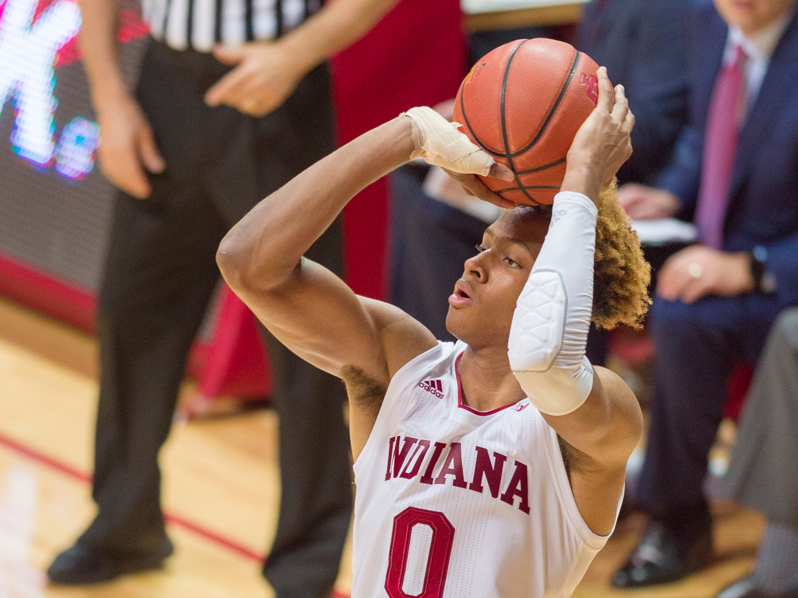 Indiana guard Romeo Langford (0) shoots during the second half of an NCAA college basketball game against Northwestern Saturday, Dec. 1, 2018, in Bloomington, Ind. Indiana won 68-66.