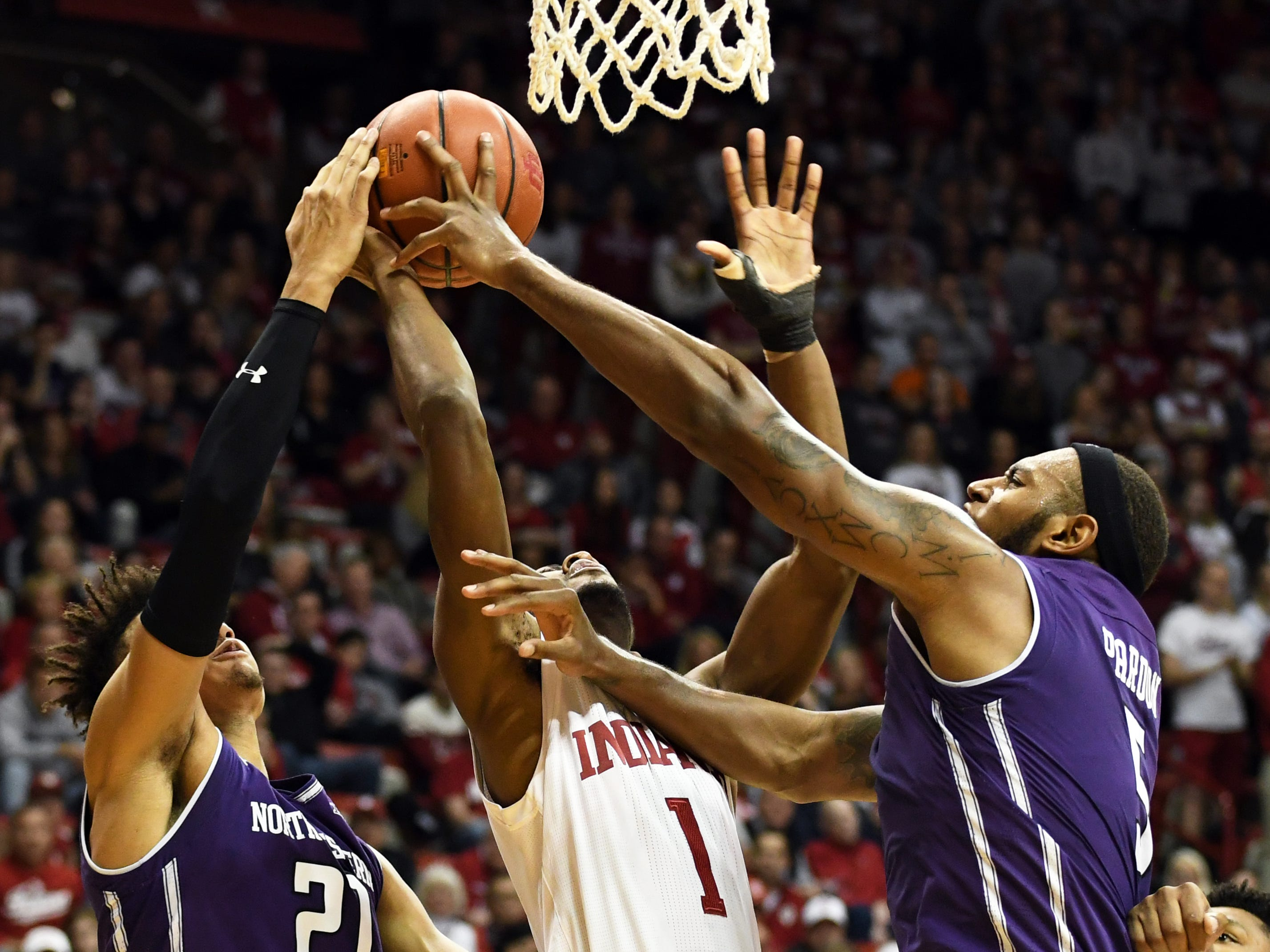 Indiana Hoosiers guard Al Durham (1) is fouled as he goes to the basket during the game against Northwestern at Simon Skjodt Assembly Hall in Bloomington, Ind., on Saturday, Dec. 1, 2018.