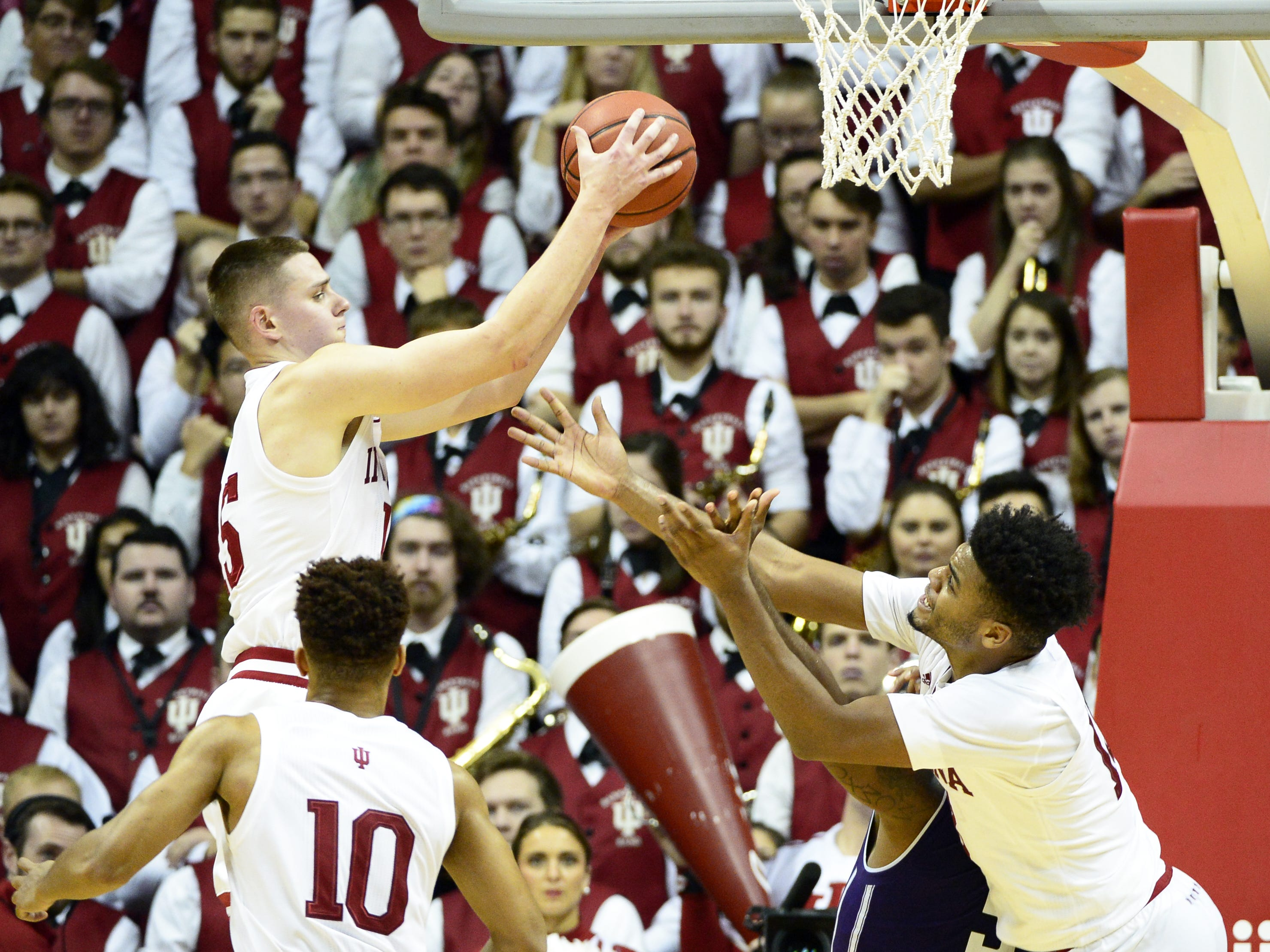 Indiana Hoosiers guard Zach McRoberts (15) rebounds the ball during the game against Northwestern at Simon Skjodt Assembly Hall in Bloomington, Ind., on Saturday, Dec. 1, 2018.