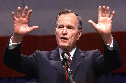 Former President George Bush addresses the Indiana Republican Spring State Dinner