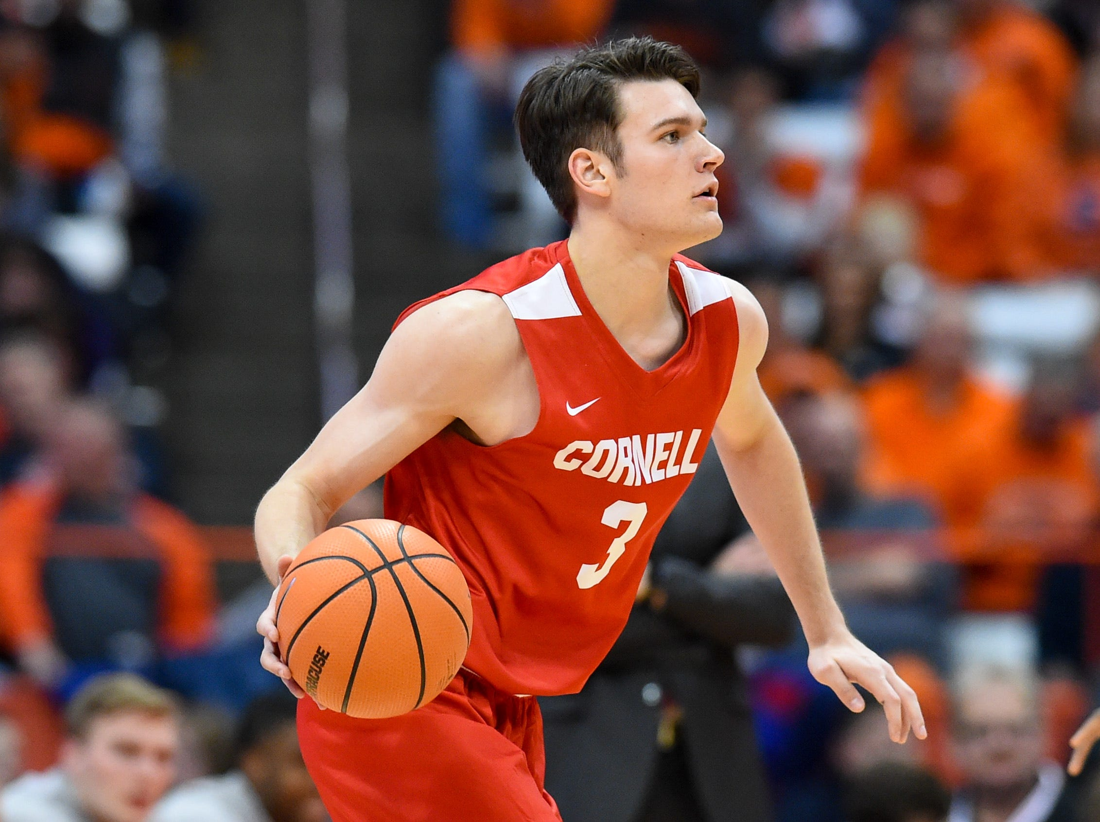 Nov 10, 2017; Syracuse, NY, USA; Cornell Big Red forward Jimmy Boeheim (3) controls the ball against the Syracuse Orange during the second half at the Carrier Dome. Mandatory Credit: Rich Barnes-USA TODAY Sports
