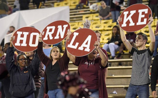 Horn Lake fans cheer for the Eagles on Friday, November 20, 2018, in the MHSAA BlueCross BlueShield Gridiron Classic High School Football Championships in M.M. Roberts Stadium on the University of Southern Mississippi campus in Hattiesburg, Miss.