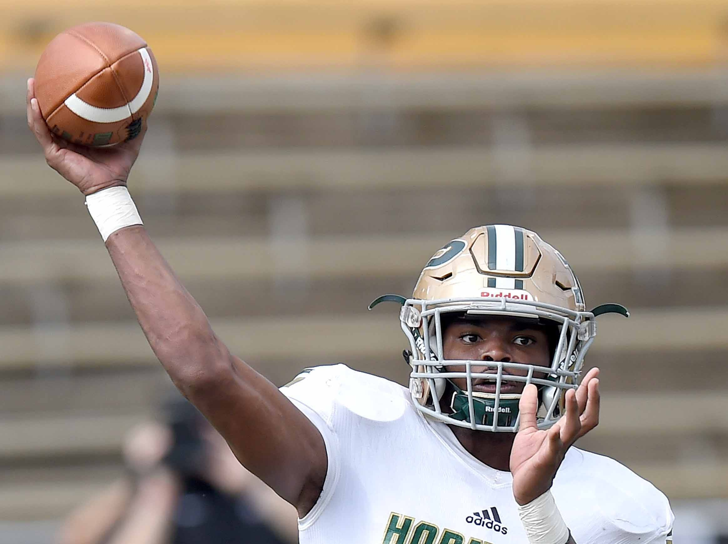 Poplarville's Antonio Barnes (9) throws a pass against Louisville on Saturday, December 1, 2018, in the MHSAA BlueCross BlueShield Gridiron Classic High School Football Championships in M.M. Roberts Stadium on the University of Southern Mississippi campus in Hattiesburg, Miss.