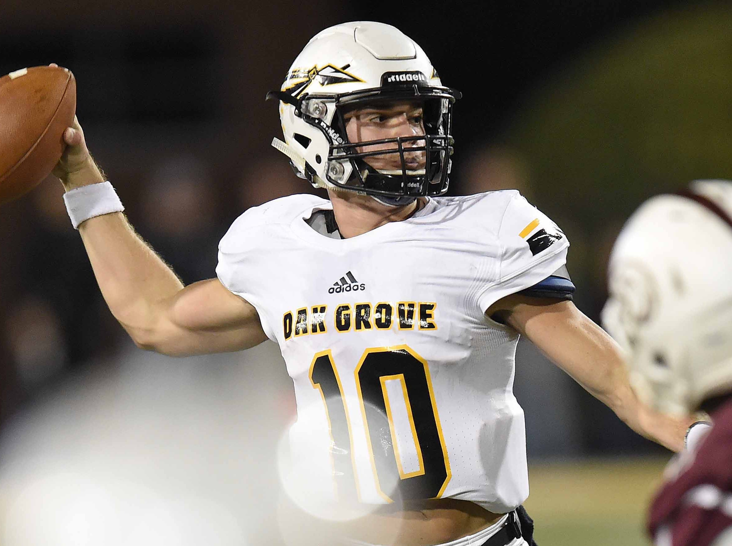Oak Grove's John Rhys Plumlee (10) throws against Horn Lake on Friday, November 20, 2018, in the MHSAA BlueCross BlueShield Gridiron Classic High School Football Championships in M.M. Roberts Stadium on the University of Southern Mississippi campus in Hattiesburg, Miss.