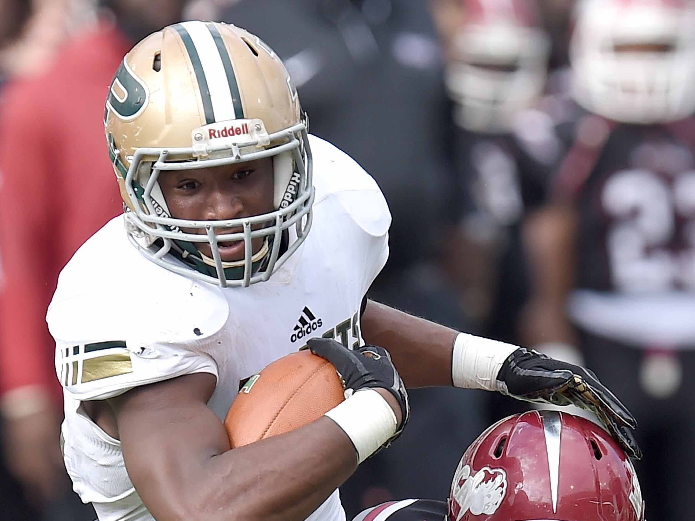 Poplarville's Chase Shears (14) runs against Louisville on Saturday, December 1, 2018, in the MHSAA BlueCross BlueShield Gridiron Classic High School Football Championships in M.M. Roberts Stadium on the University of Southern Mississippi campus in Hattiesburg, Miss.