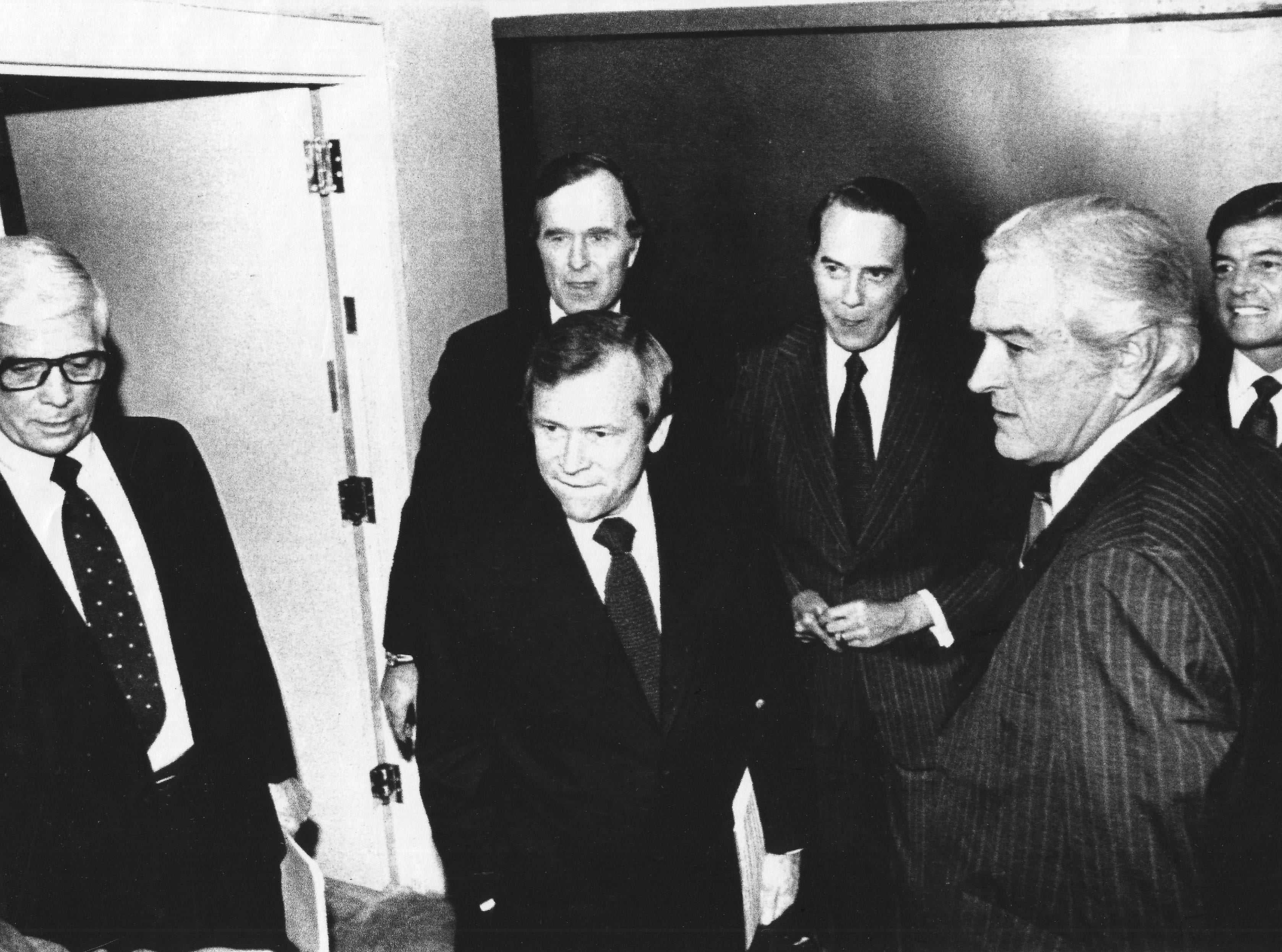 Waiting to take the stage for a debate are Republican presidential candidates Rep. John Anderson, left, U.S. Sen. Howard H. Baker Jr., George H.W. Bush, Sen. Bob Dole, former Texas Gov. John Connally and Rep. Phil Crane on Jan. 5, 1980, in Des Moines, Iowa.
