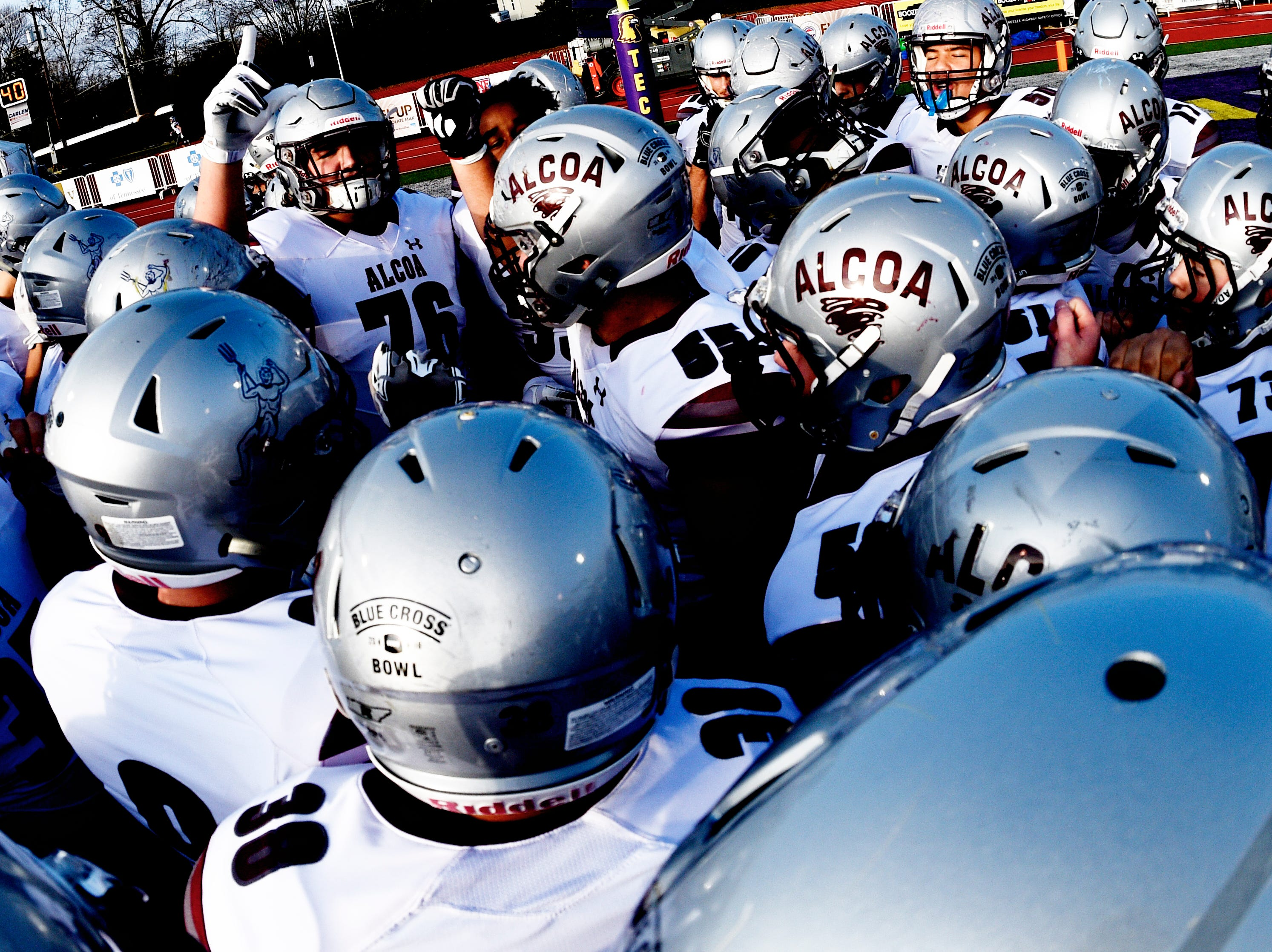 Alcoa huddles during a game between Alcoa and Covington at the TSSAA Blue Cross Bowl at Tennessee Tech's Tucker Stadium in Cookeville, Tennessee on Saturday, December 1, 2018.